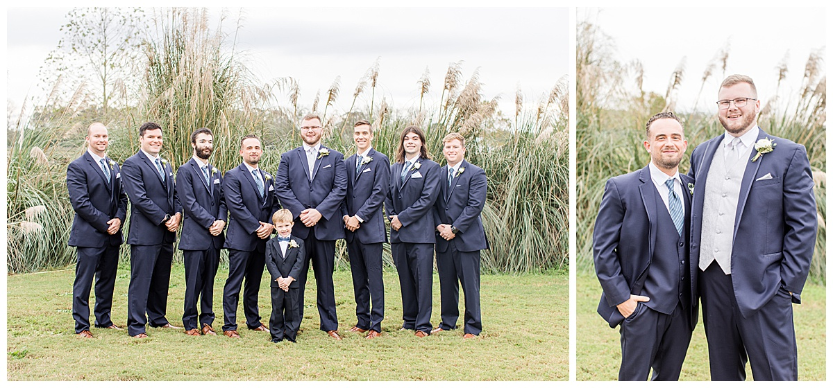 Groomsmen in navy suits pose for portraits by Goodie and Smith Weddings
