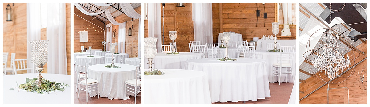 reception for Laurel Hill Farm wedding with white and green details