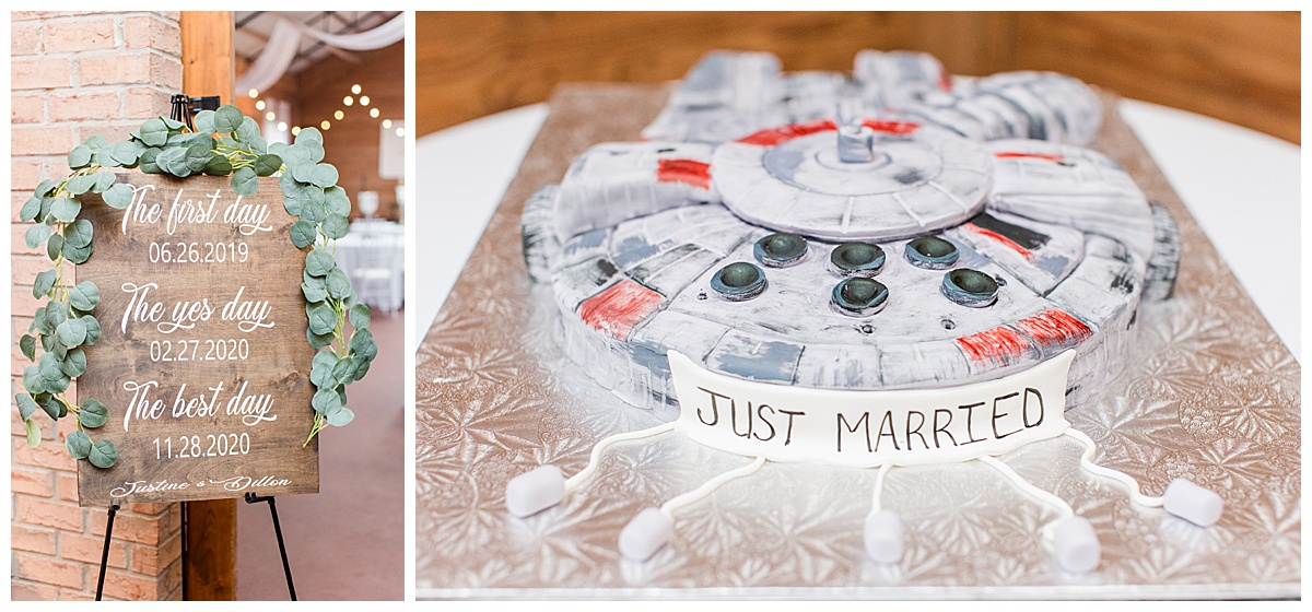 grooms Star Wars cake and rustic wooden sign for Laurel Hill Farm wedding reception