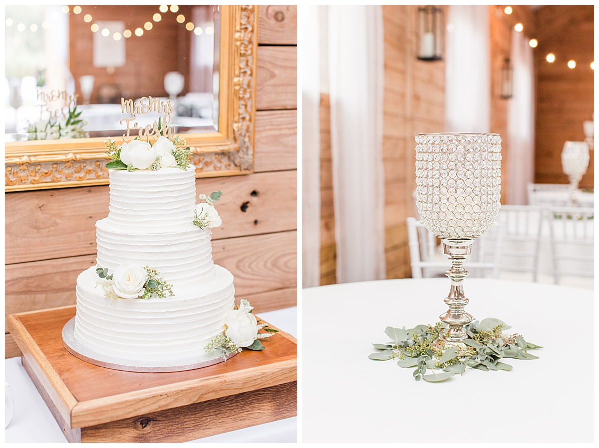 tiered wedding cake with white roses and gold topper for Laurel Hill Farm wedding