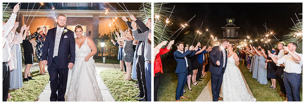 sparkler exit during Florida wedding photographed by Goodie and Smith Weddings