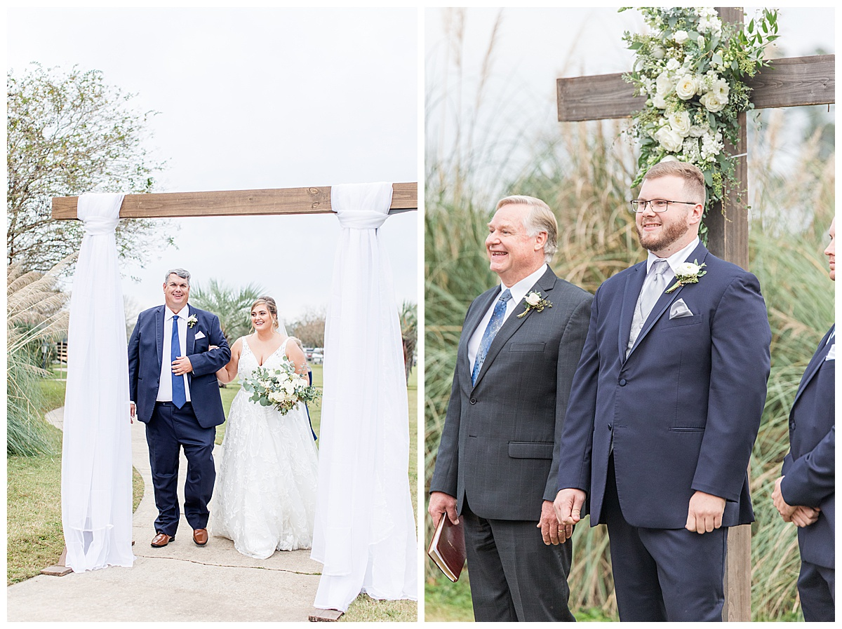 bride walks down aisle with dad during Laurel Hill Farm ceremony