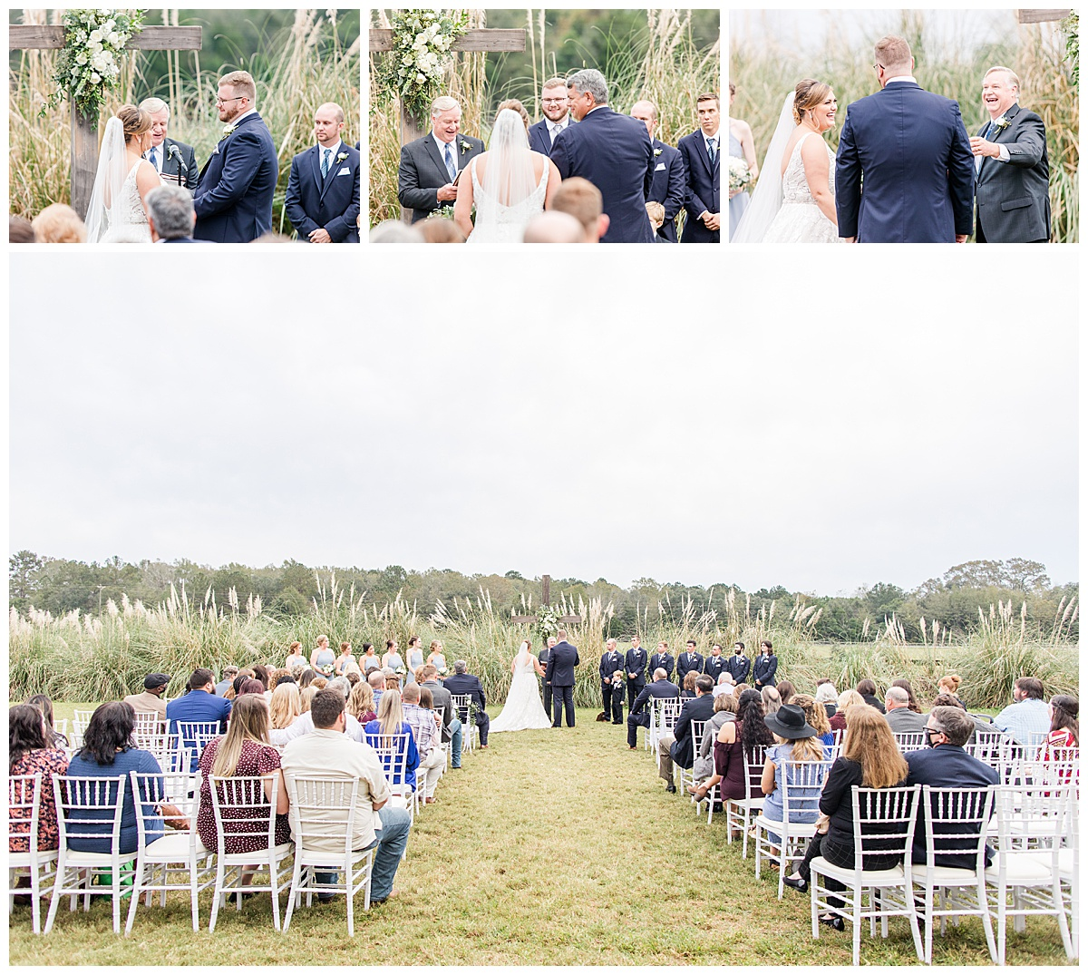 newlyweds exchange vows during outdoor winter wedding ceremony at Laurel Hill Farm