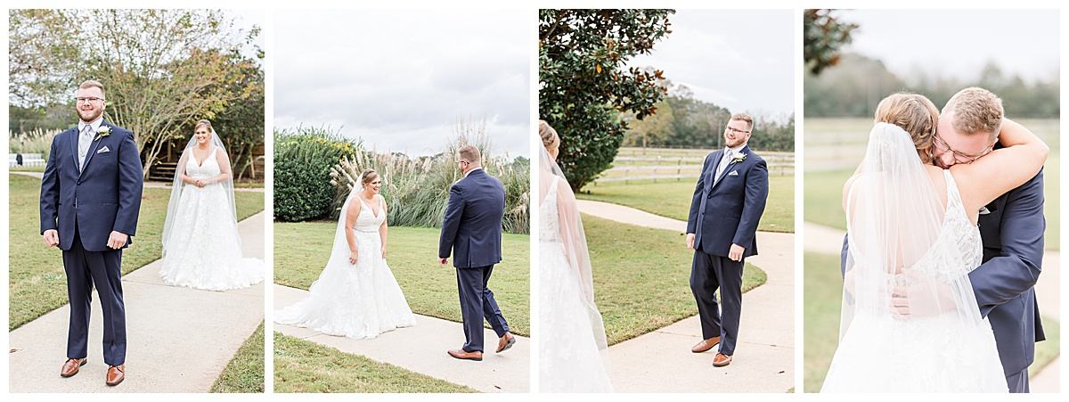 bride shares a first look with groom in navy suit at Laurel Hill Farm