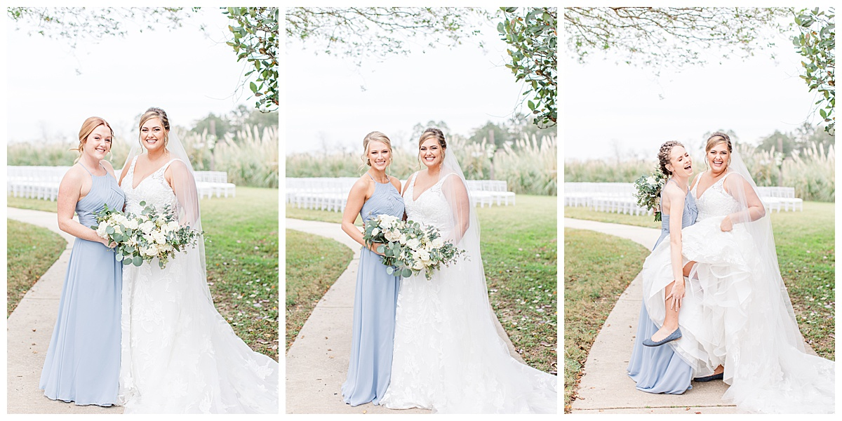 bride with bridesmaids in pale blue gowns before Florida wedding