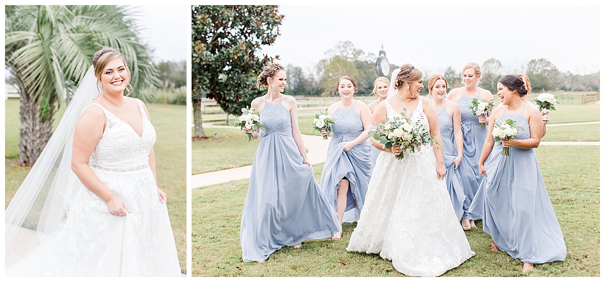 bride walks with bridesmaids in pastel blue gowns before Laurel Hill Farm wedding
