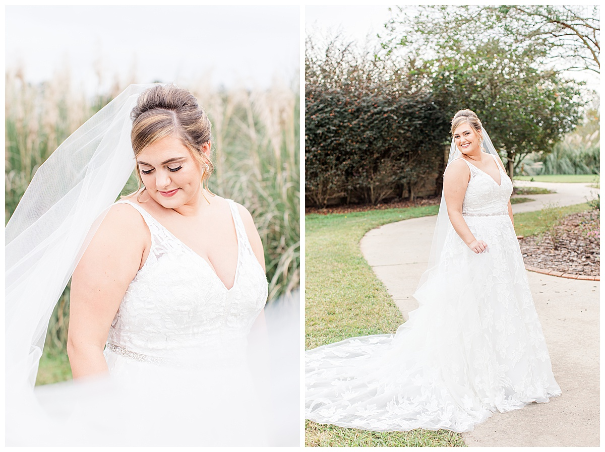 bridal portraits with veil swoop before Florida wedding day