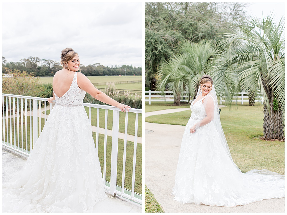 bridal portraits by goodie and smith weddings at Laurel Hill Farm with palm trees in backdrop