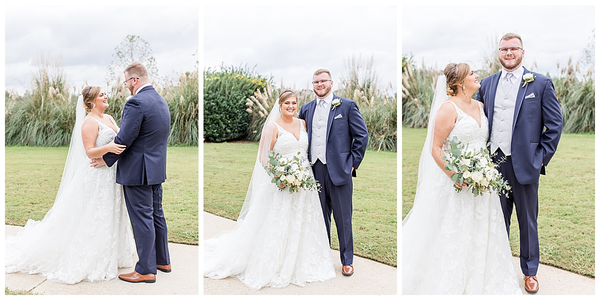 bride and groom pose together during first look at Laurel Hill Farm