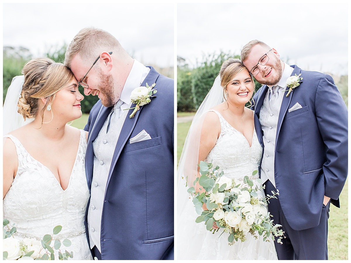 romantic winter wedding portraits of bride and groom during first look at Laurel Hill Farm