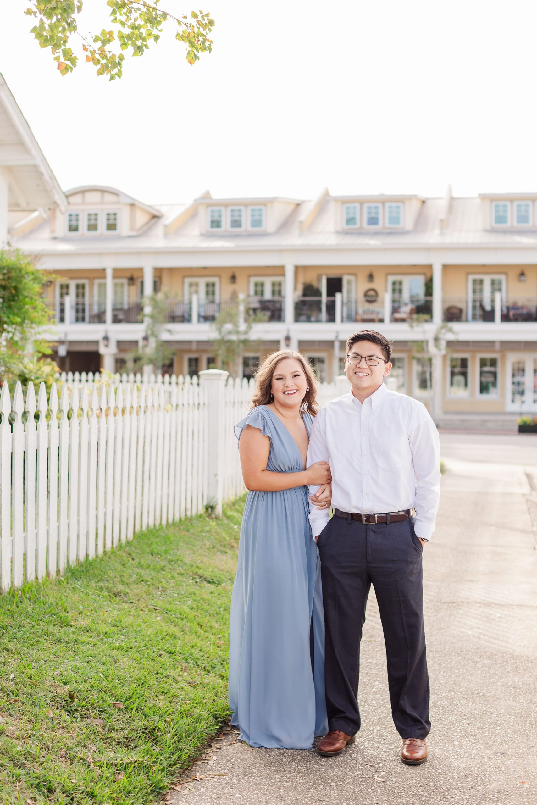 Alabama engagement portraits with Goodie and Smith in Downtown Fairhope