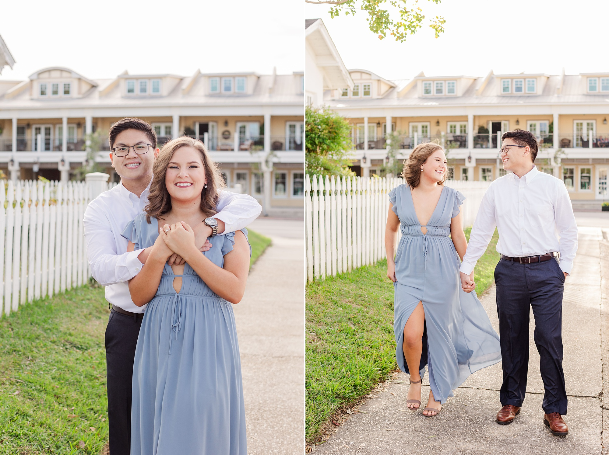 engagement portraits in Downtown Fairhope