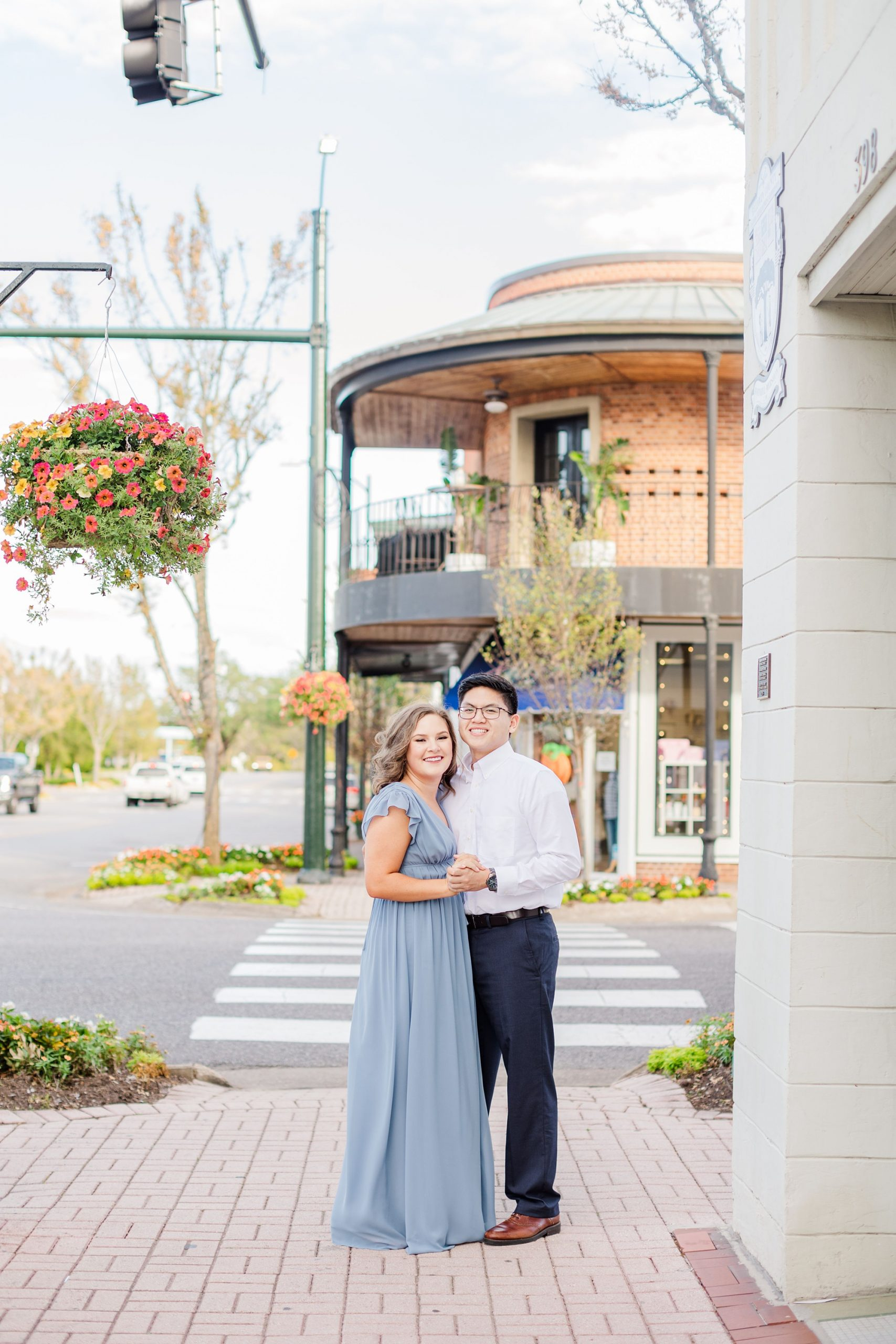 Downtown Fairhope engagement photos of bride and groom