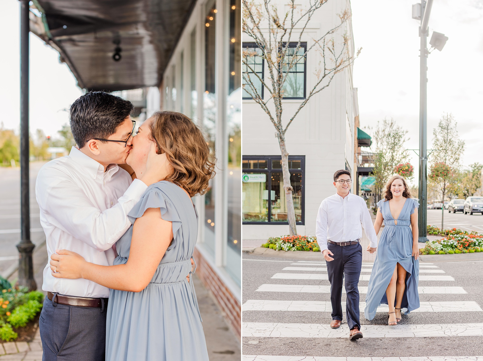 engaged couple poses on sidewalk in Alabama town