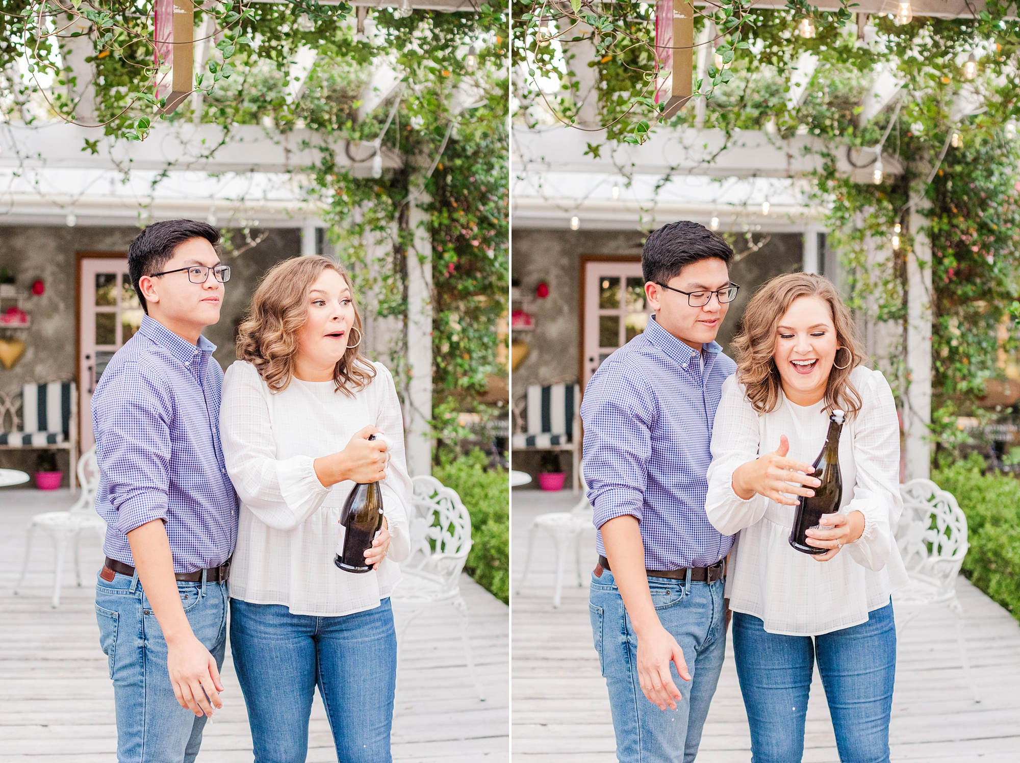 engaged couple pops champagne during Downtown Fairhope engagement photos