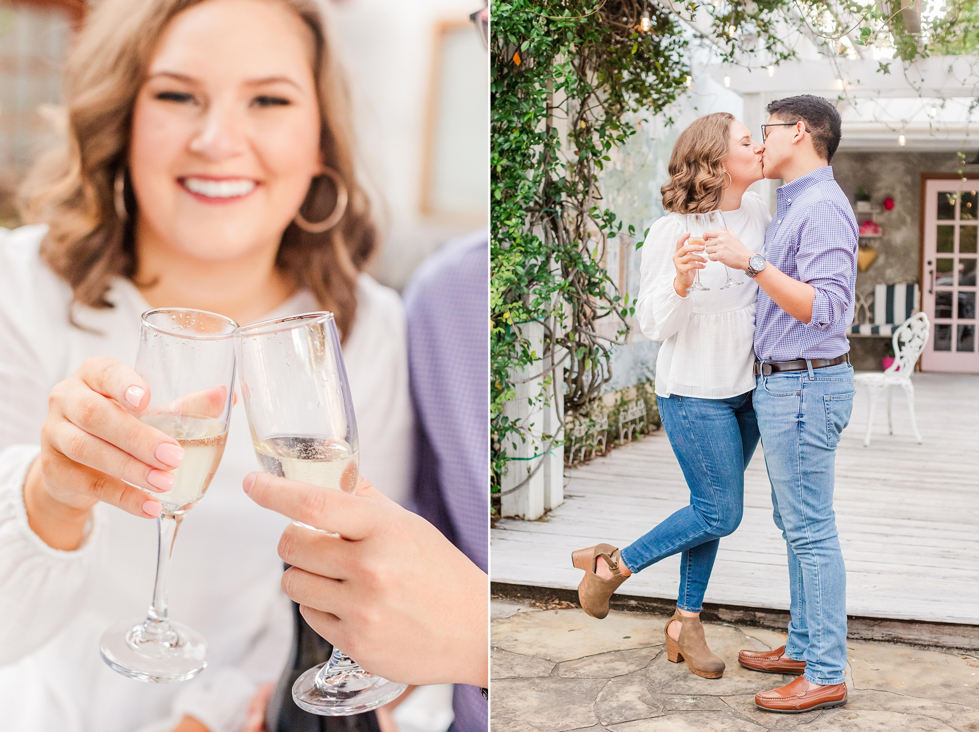 couple toasts with champagne during AL engagement photos