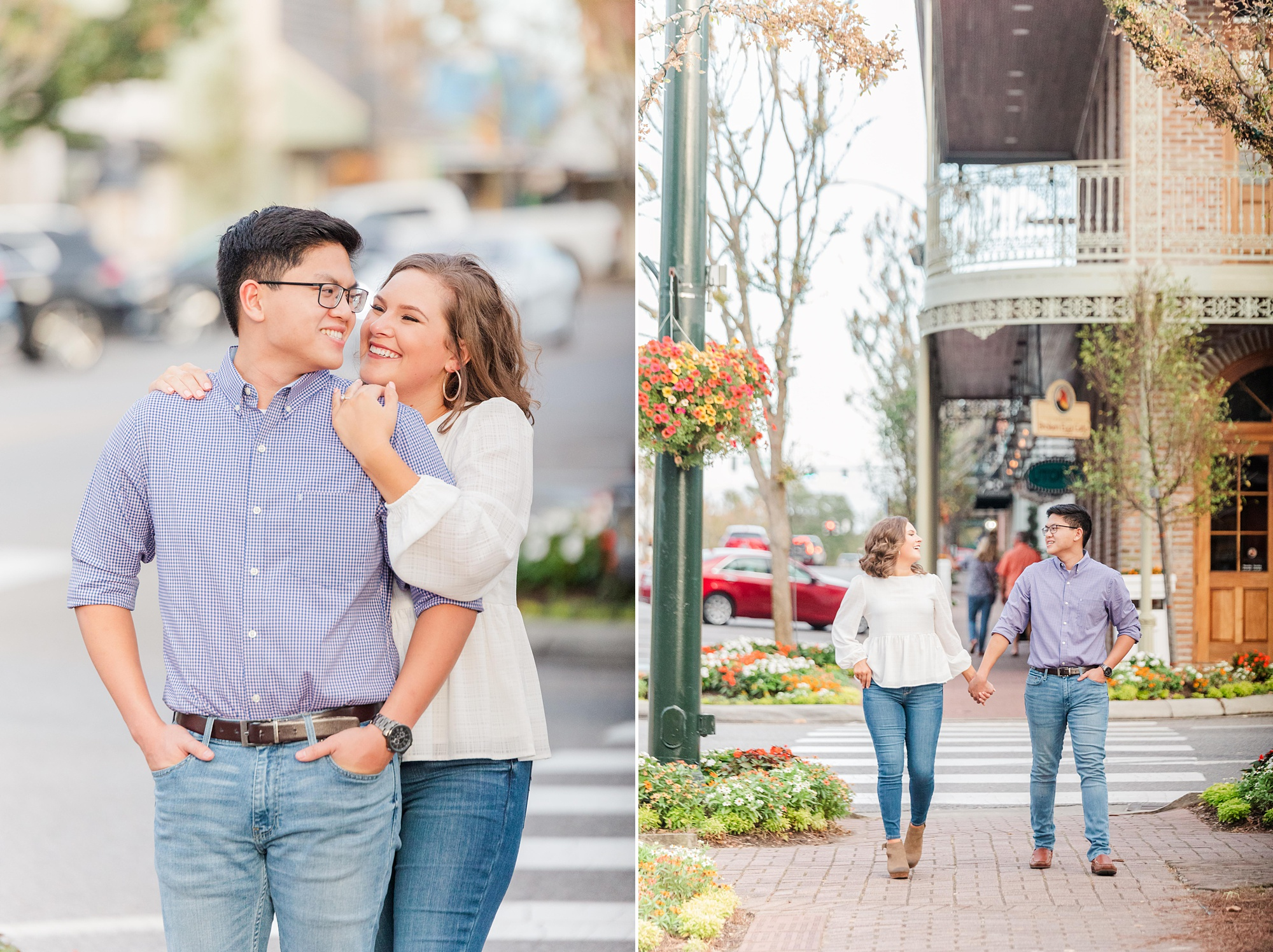 romantic downtown engagement photos in Alabama