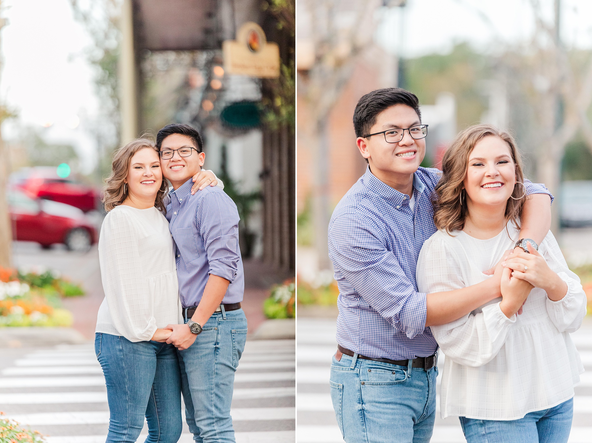 bride and groom pose on sidewalk during Downtown Fairhope engagement portraits