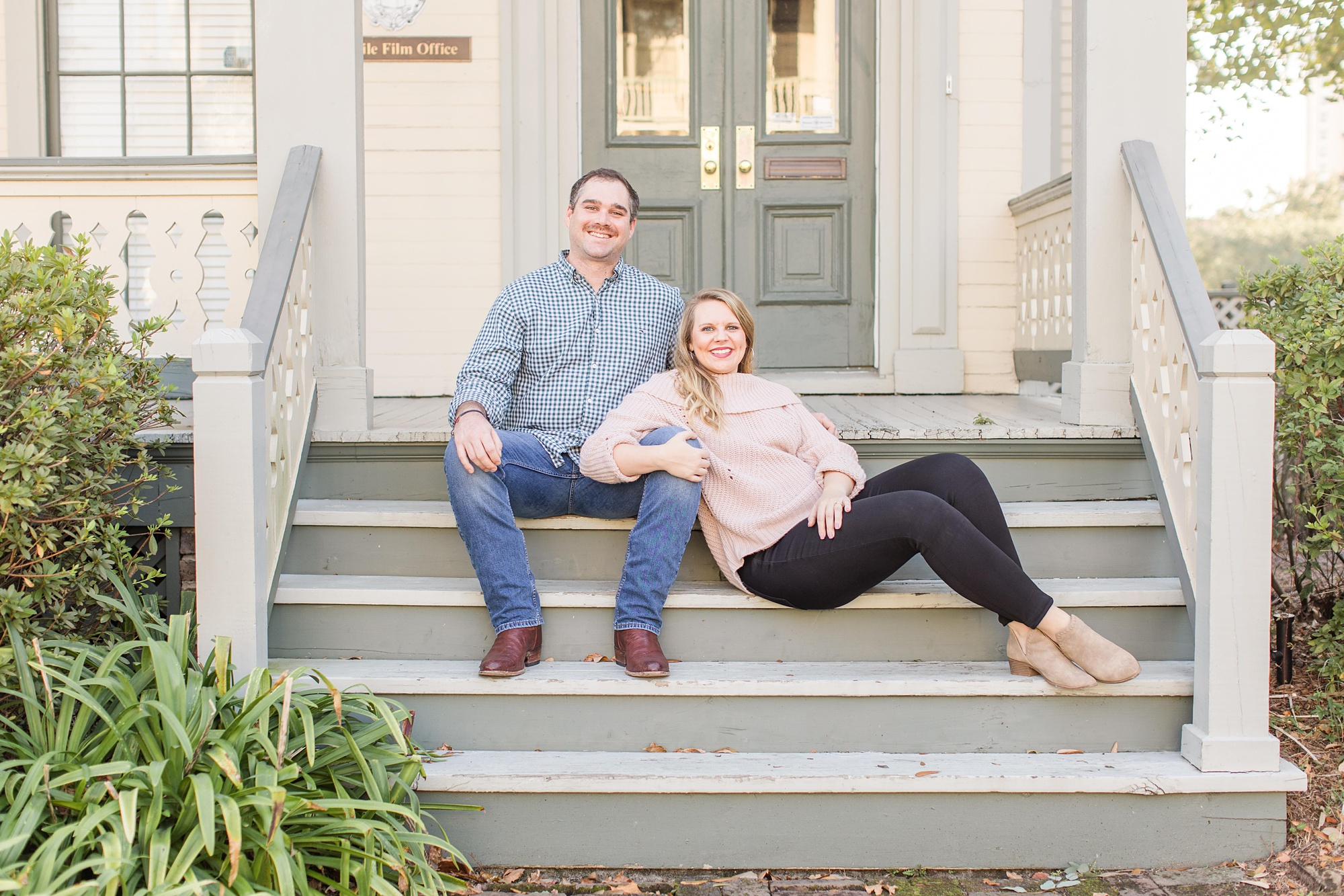 Fort Conde Inn engagement portraits with luxury wedding photographers Goodie and Smith Weddings