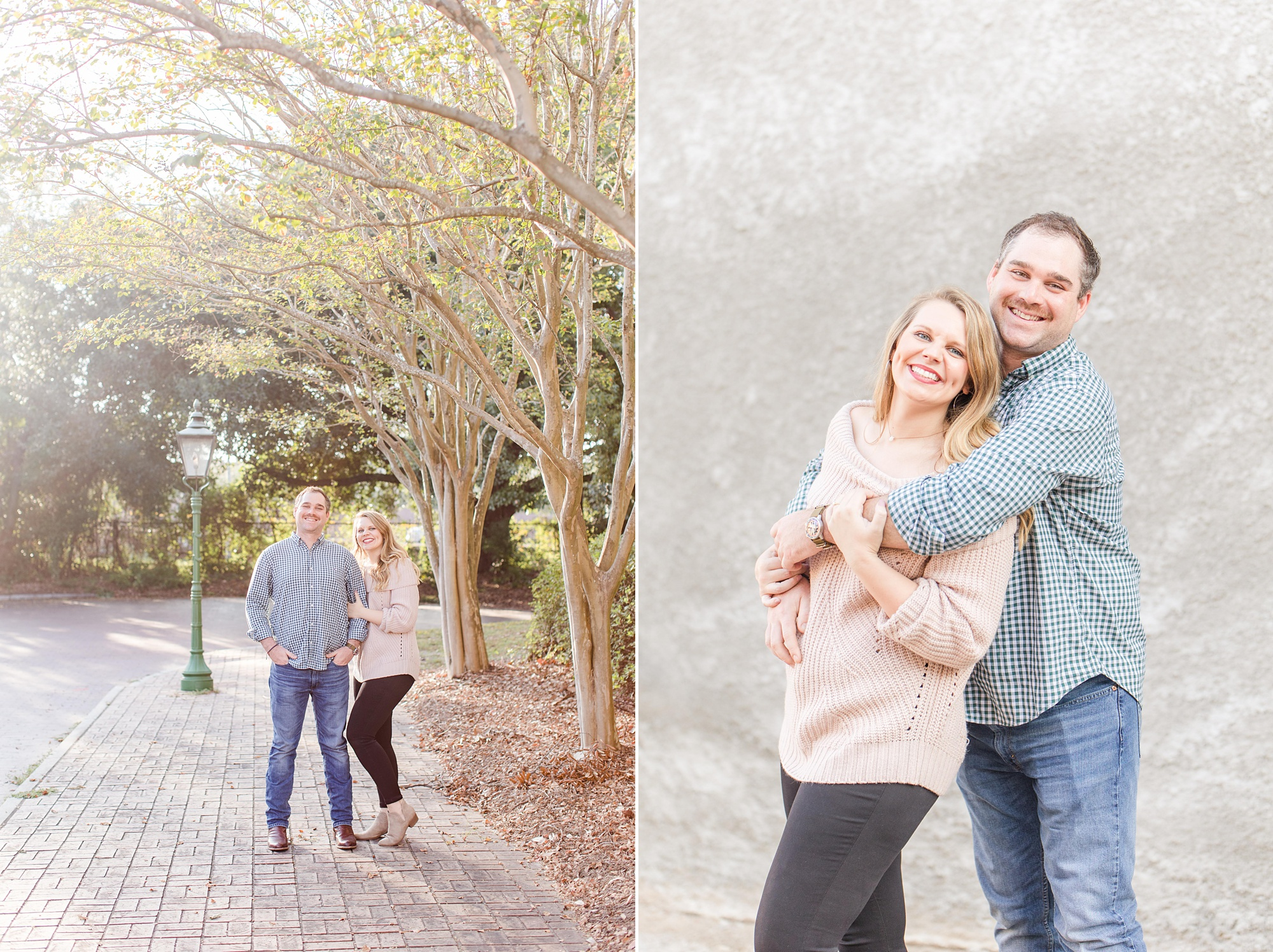bride and groom pose in Mobile AL during engagement photos