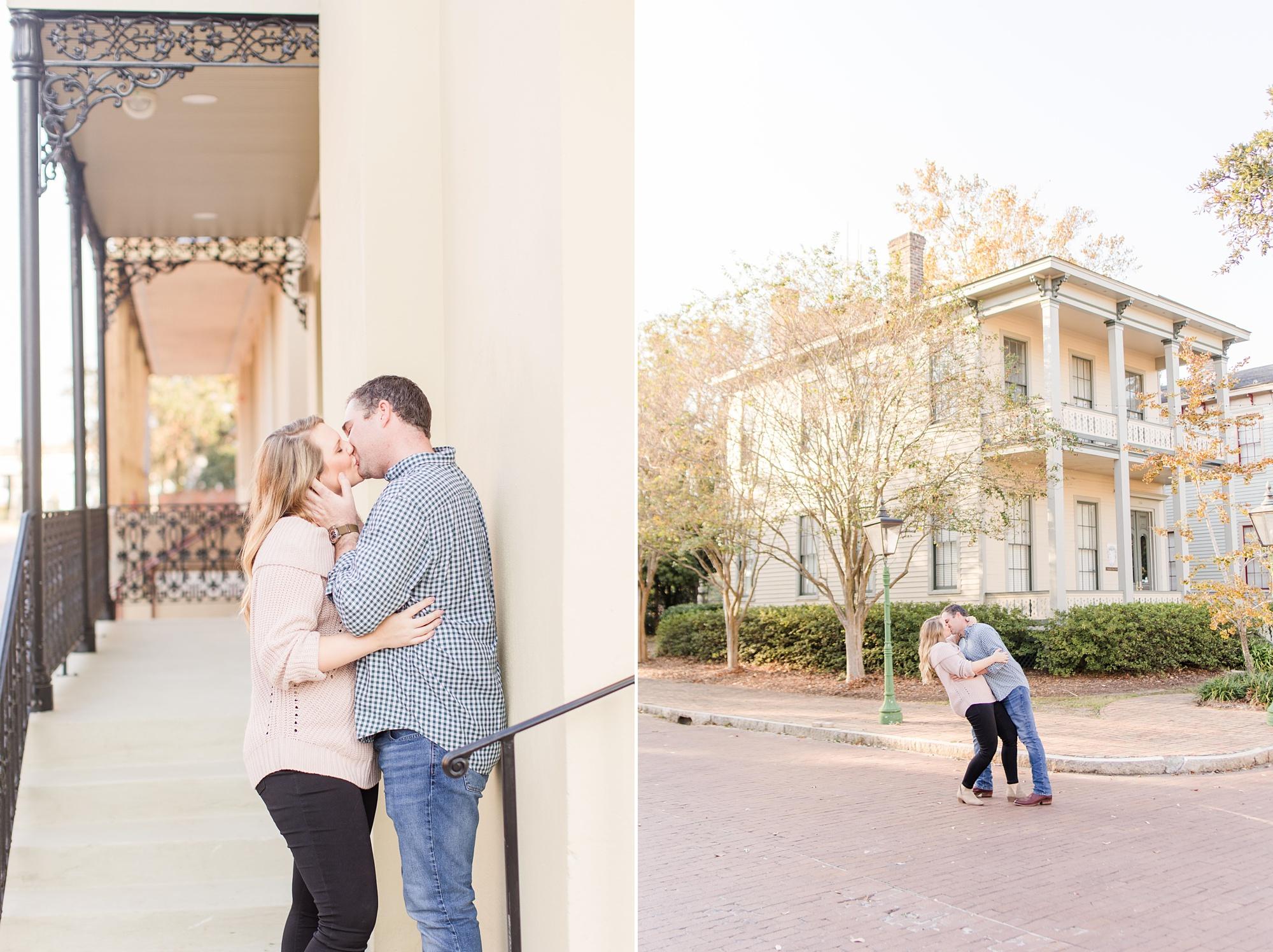 romantic Fort Conde Inn engagement portraits in Mobile AL