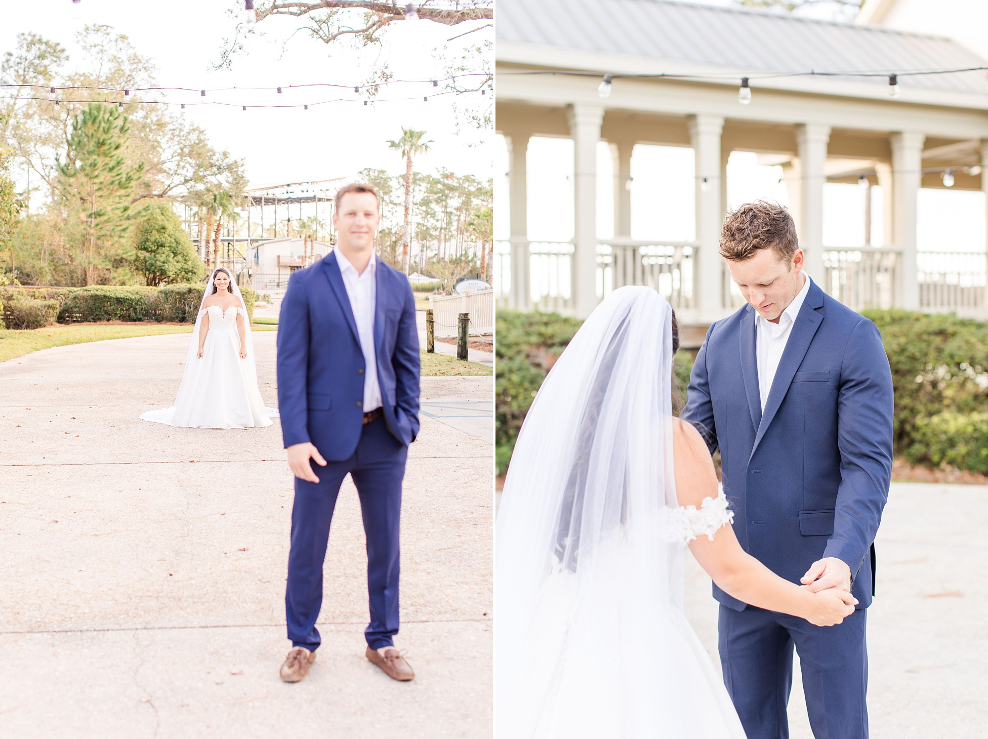 first look in Alabama with bride and groom