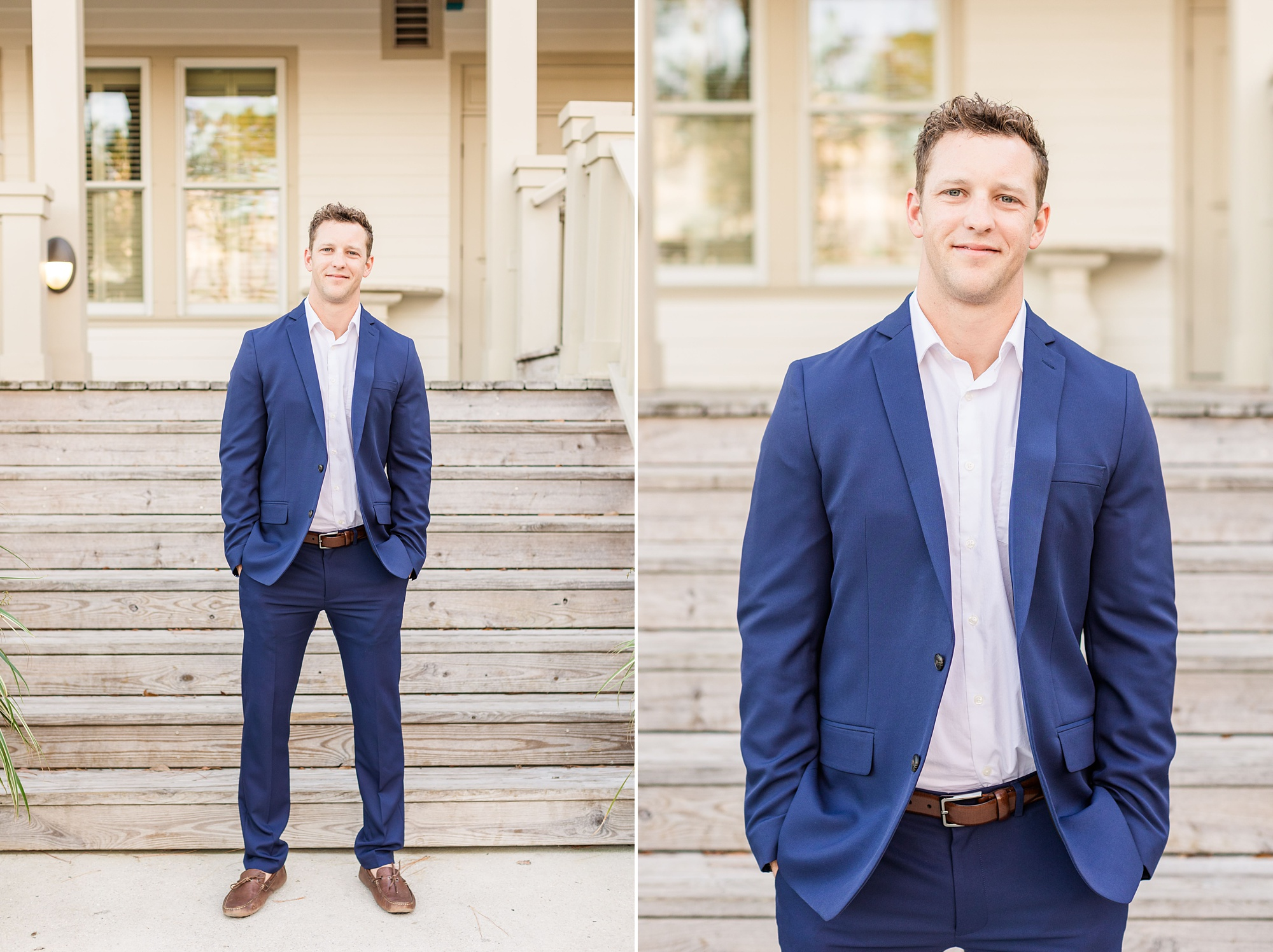 groom in blue suit jacket poses in front of steps at Heron Pointe at the Wharf