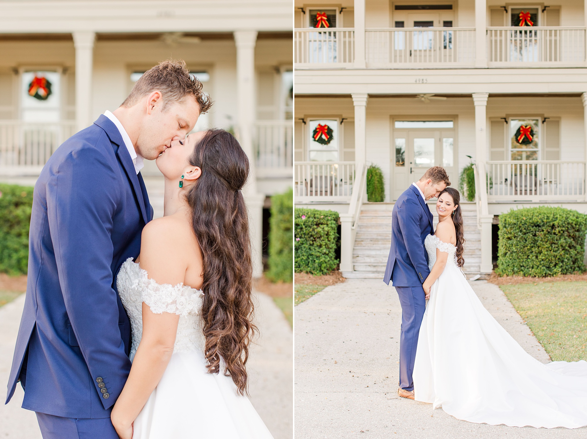 newlyweds kiss outside Heron Pointe at the Wharf