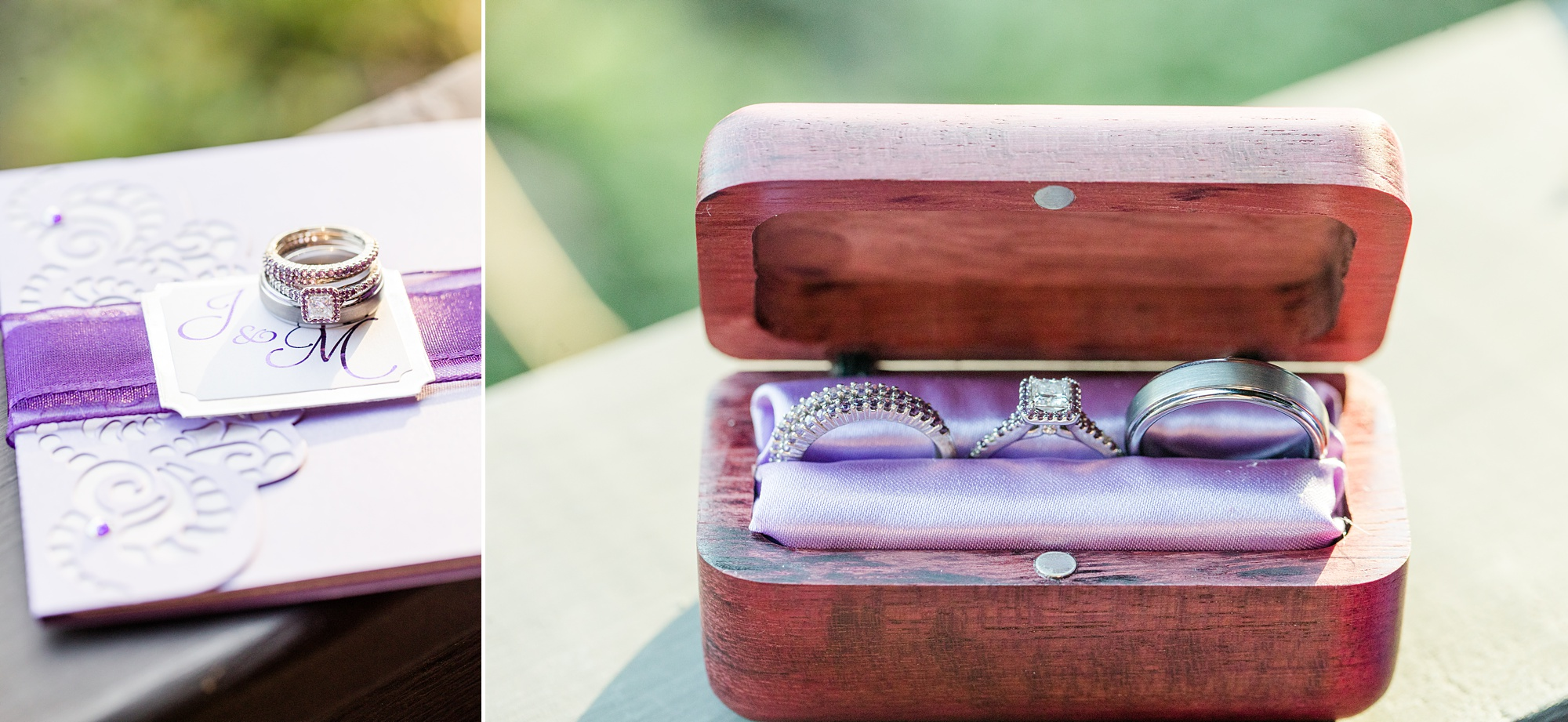 wedding rings rest in wooden box with purple lining
