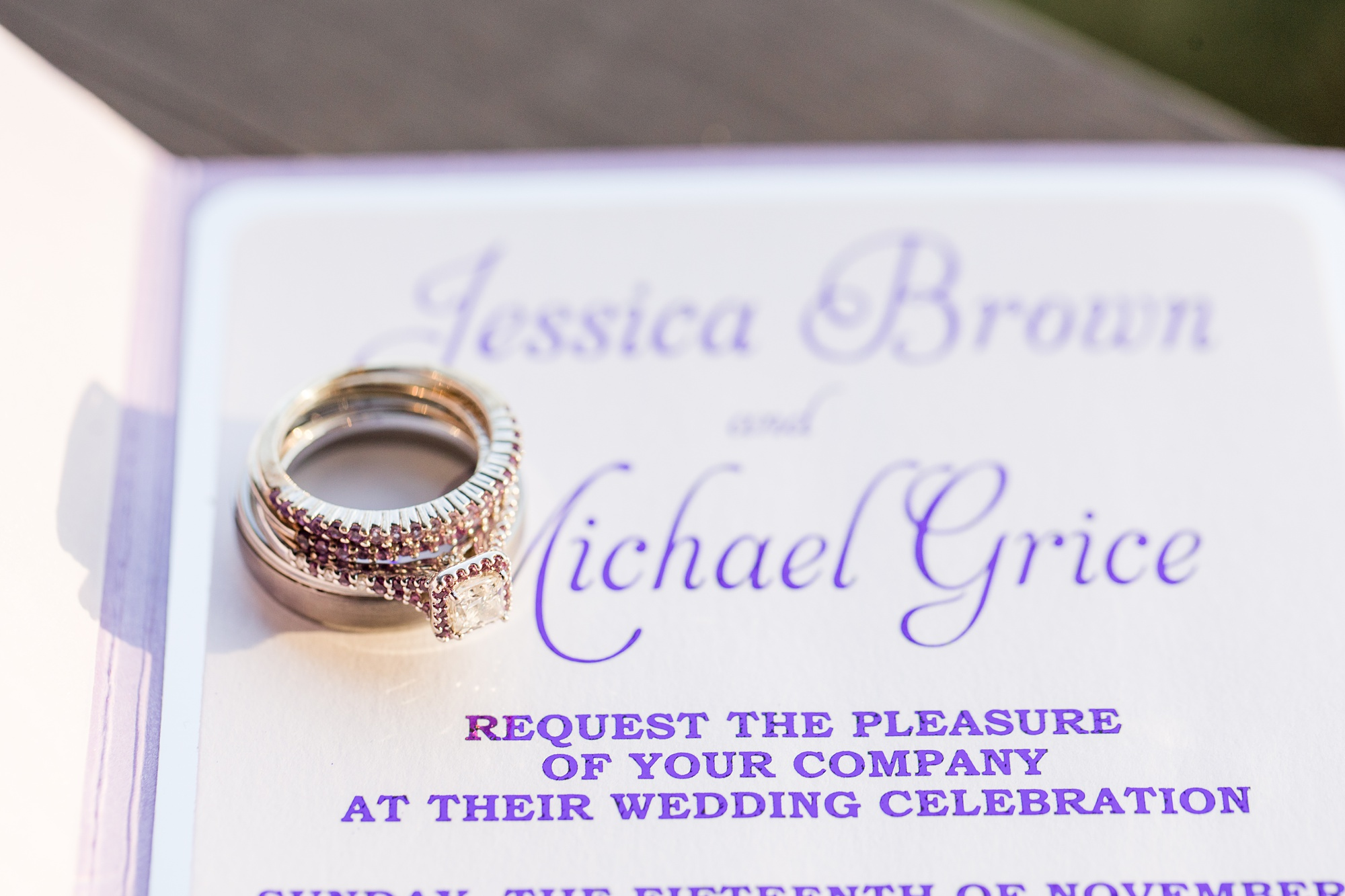 details for Alabama wedding day with purple lettering