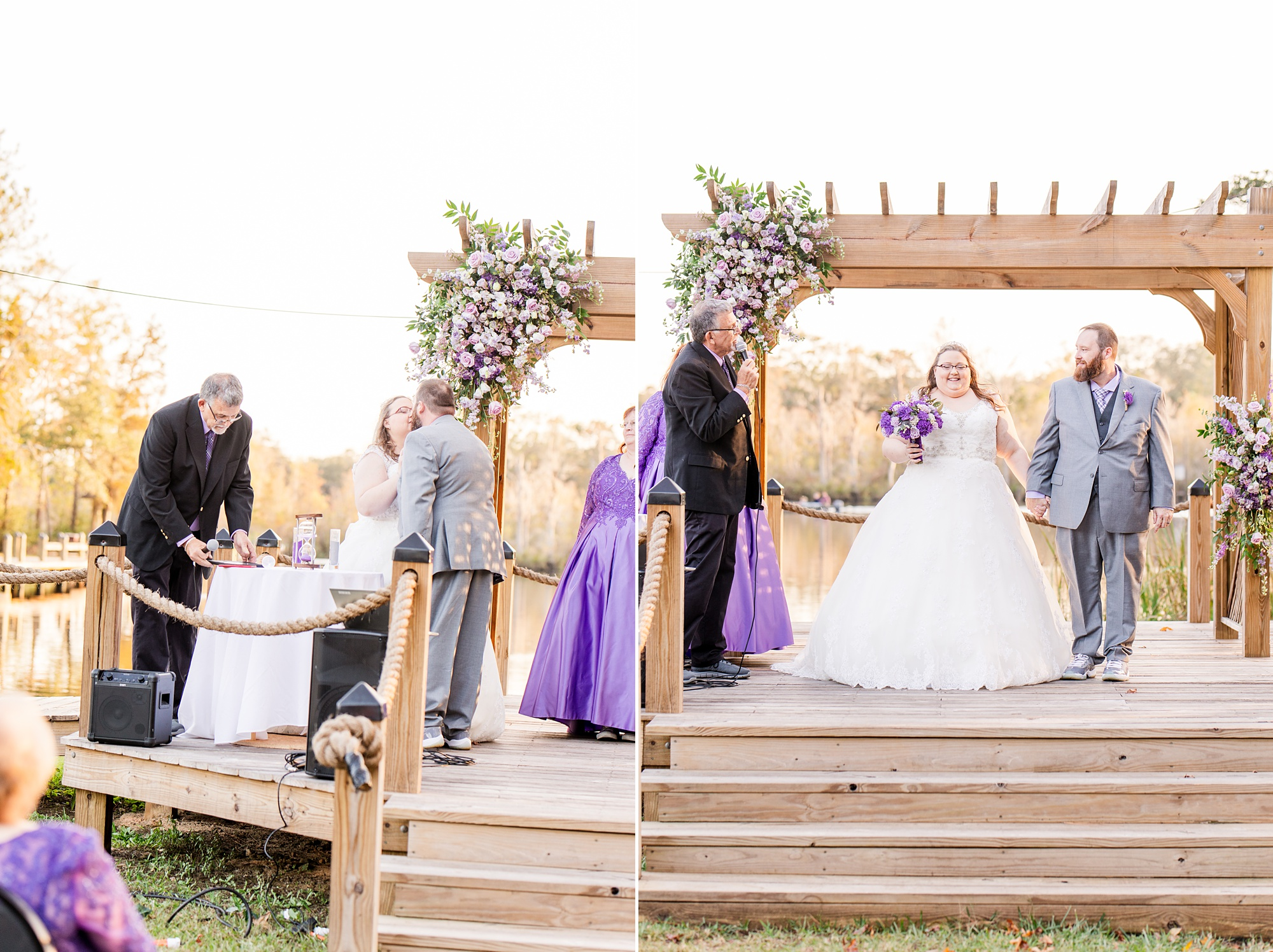 newlyweds leave waterfront altar