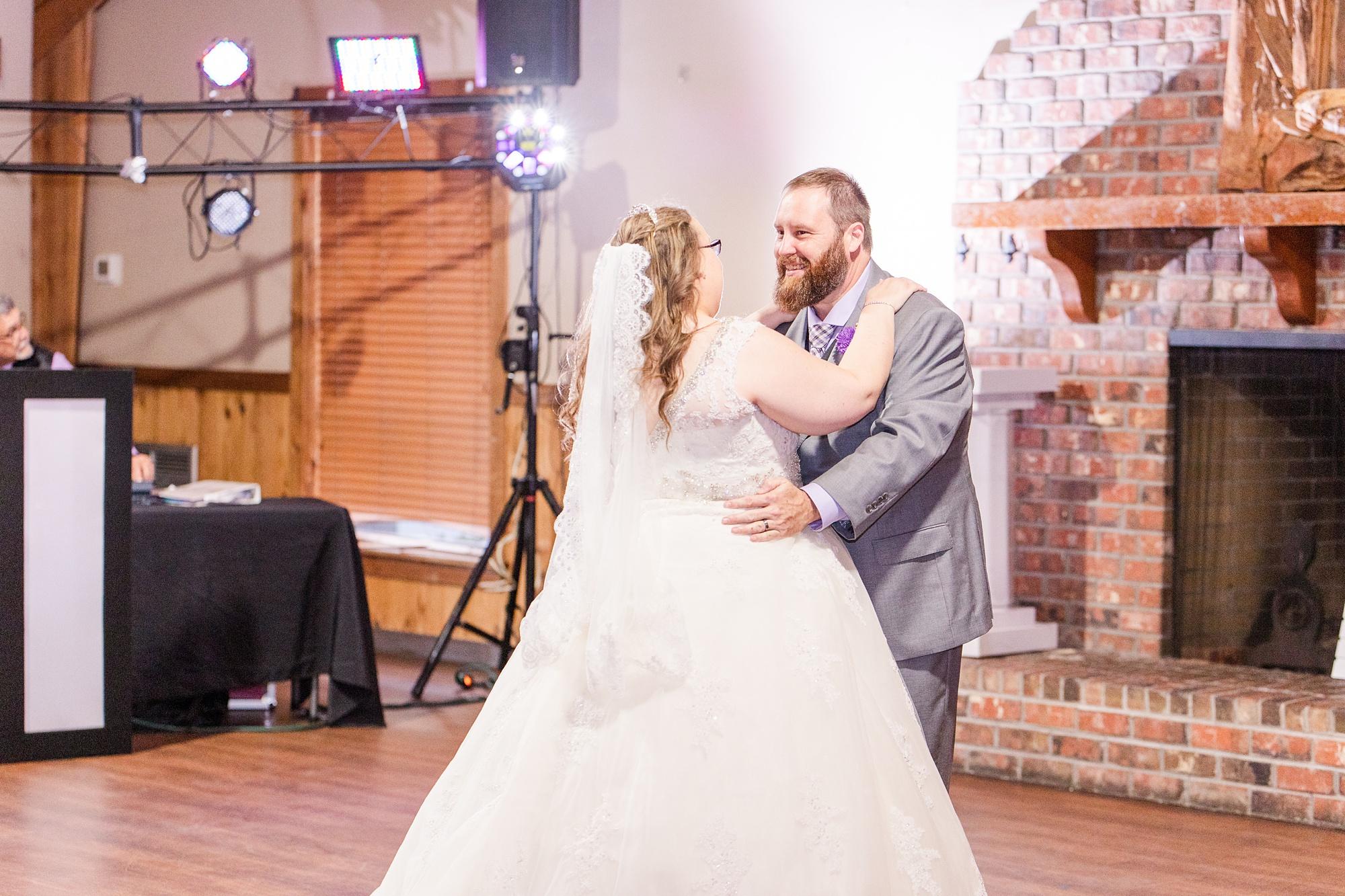 bride and groom dance during intimate Satsuma wedding reception