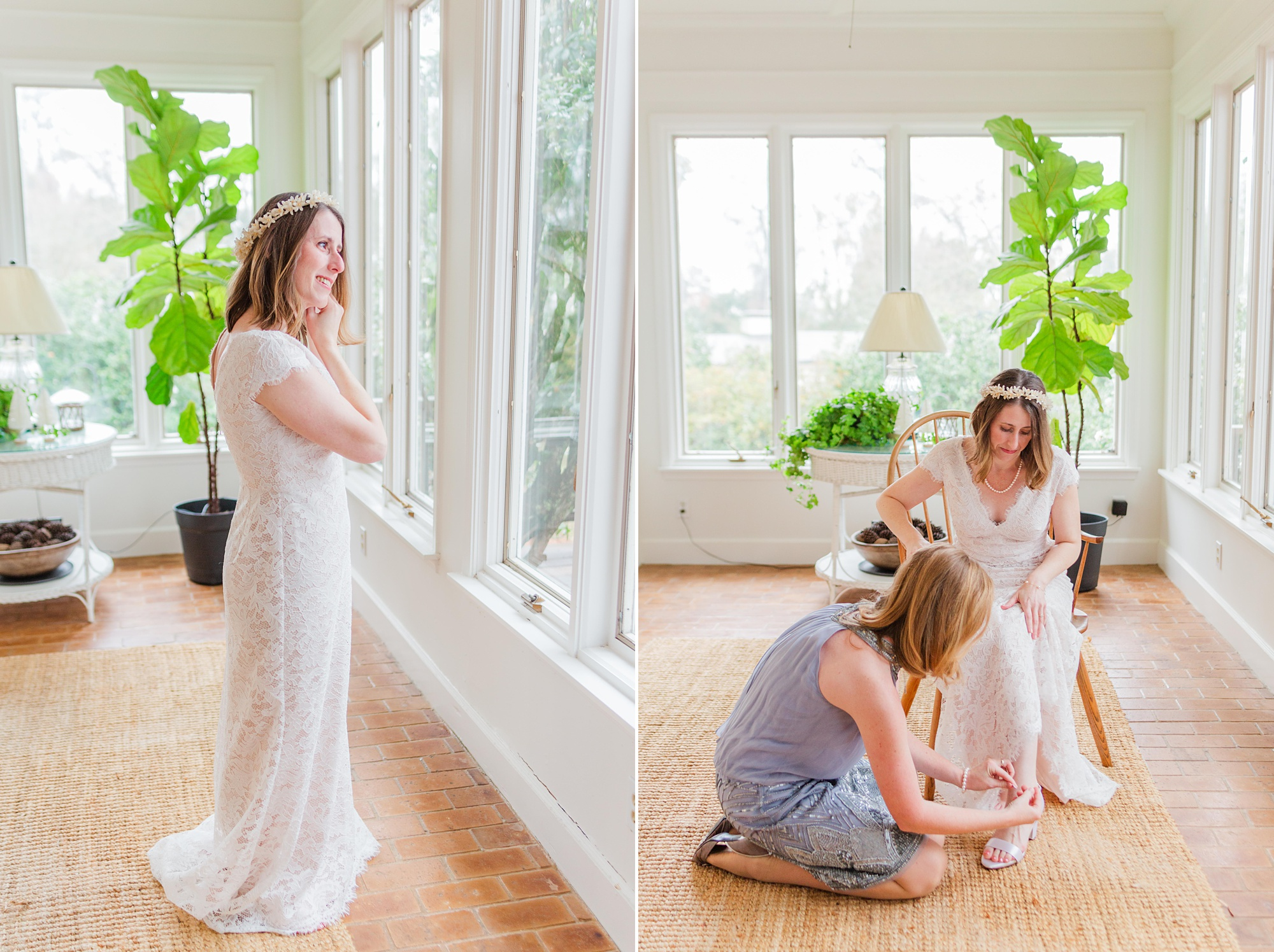 mother helps bride prepare for intimate Springhill wedding