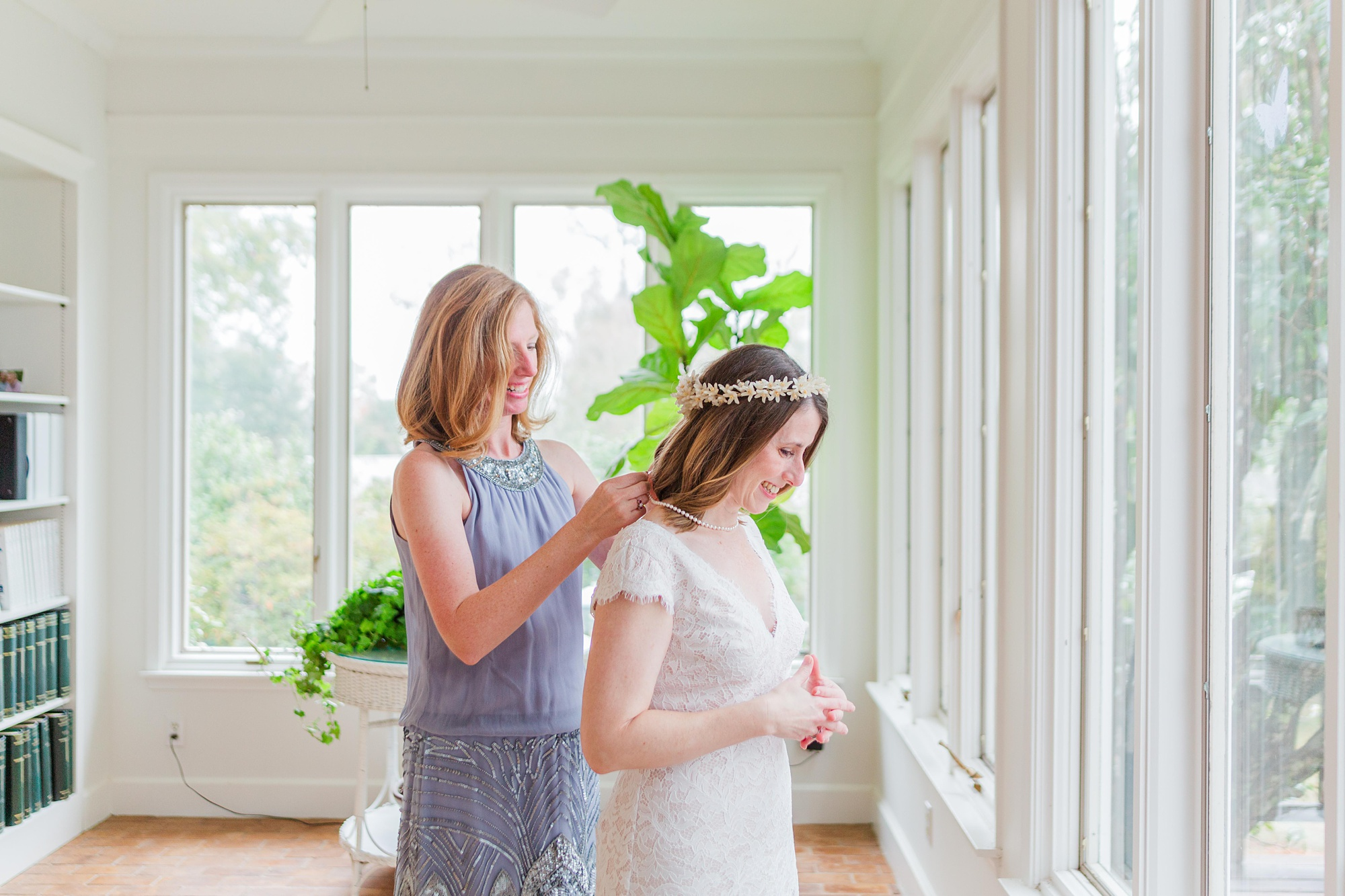 intimate Springhill wedding day prep for bride and mother