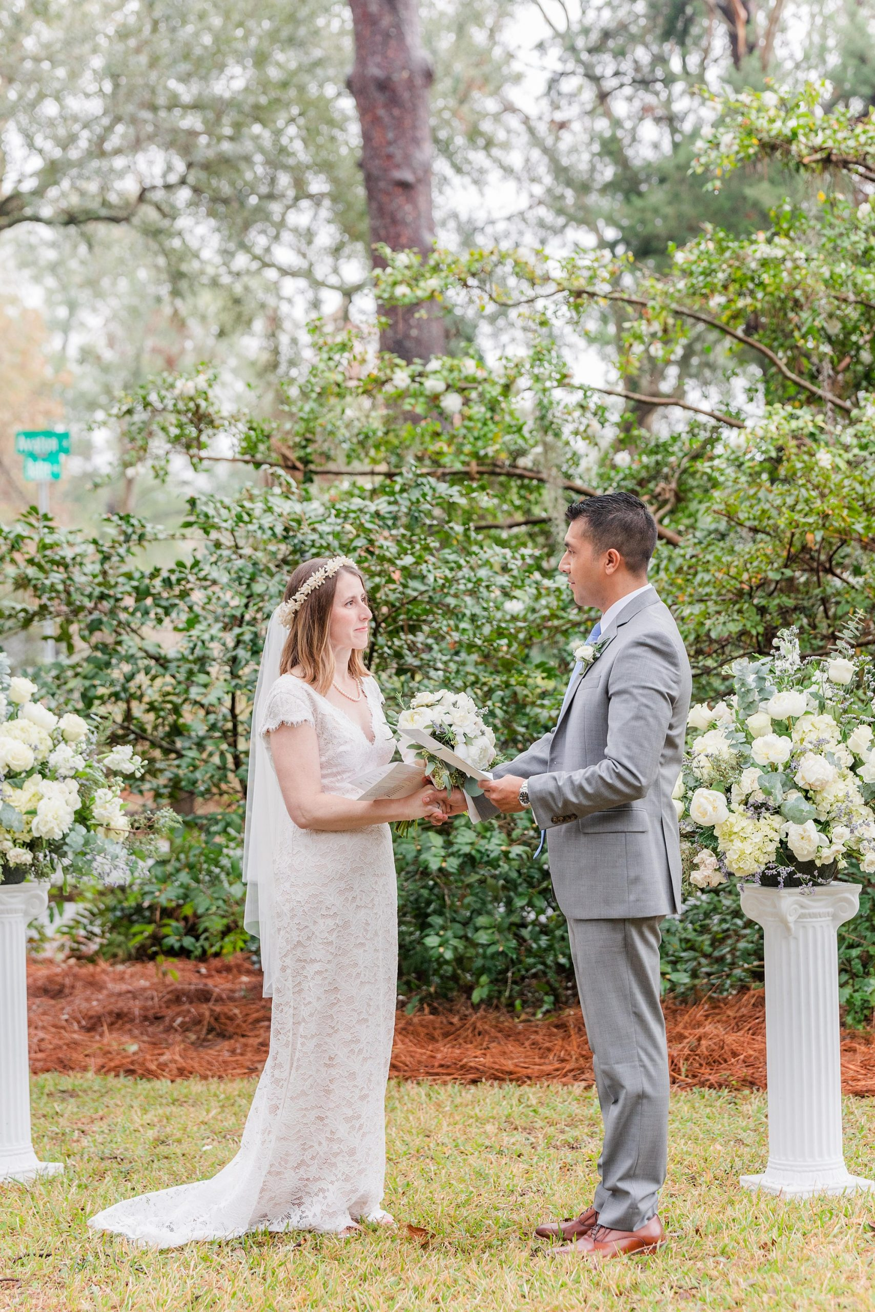 bride and groom exchange vows in self-uniting ceremony
