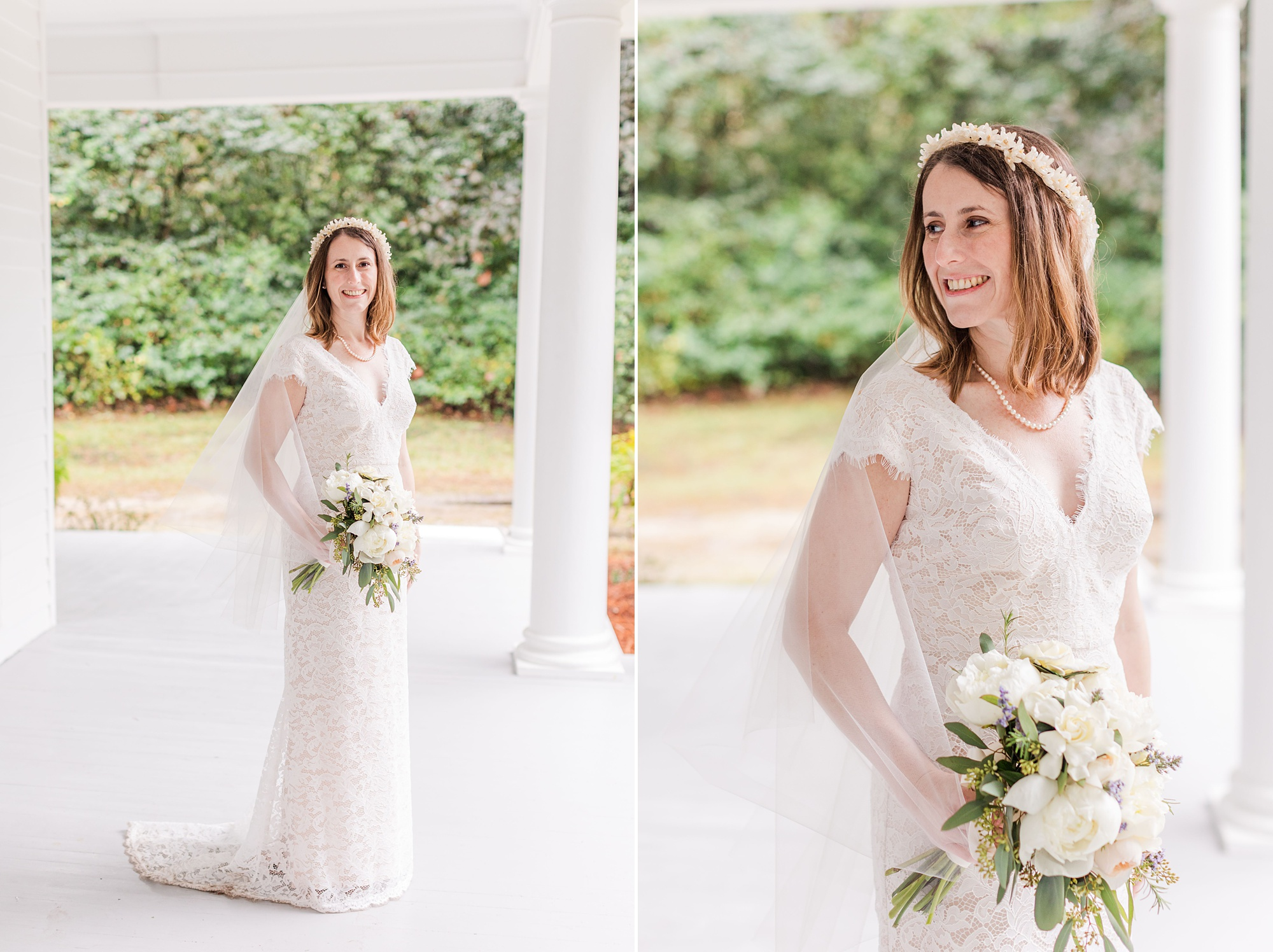 intimate Springhill wedding portraits of bride in heirloom orange blossom veil