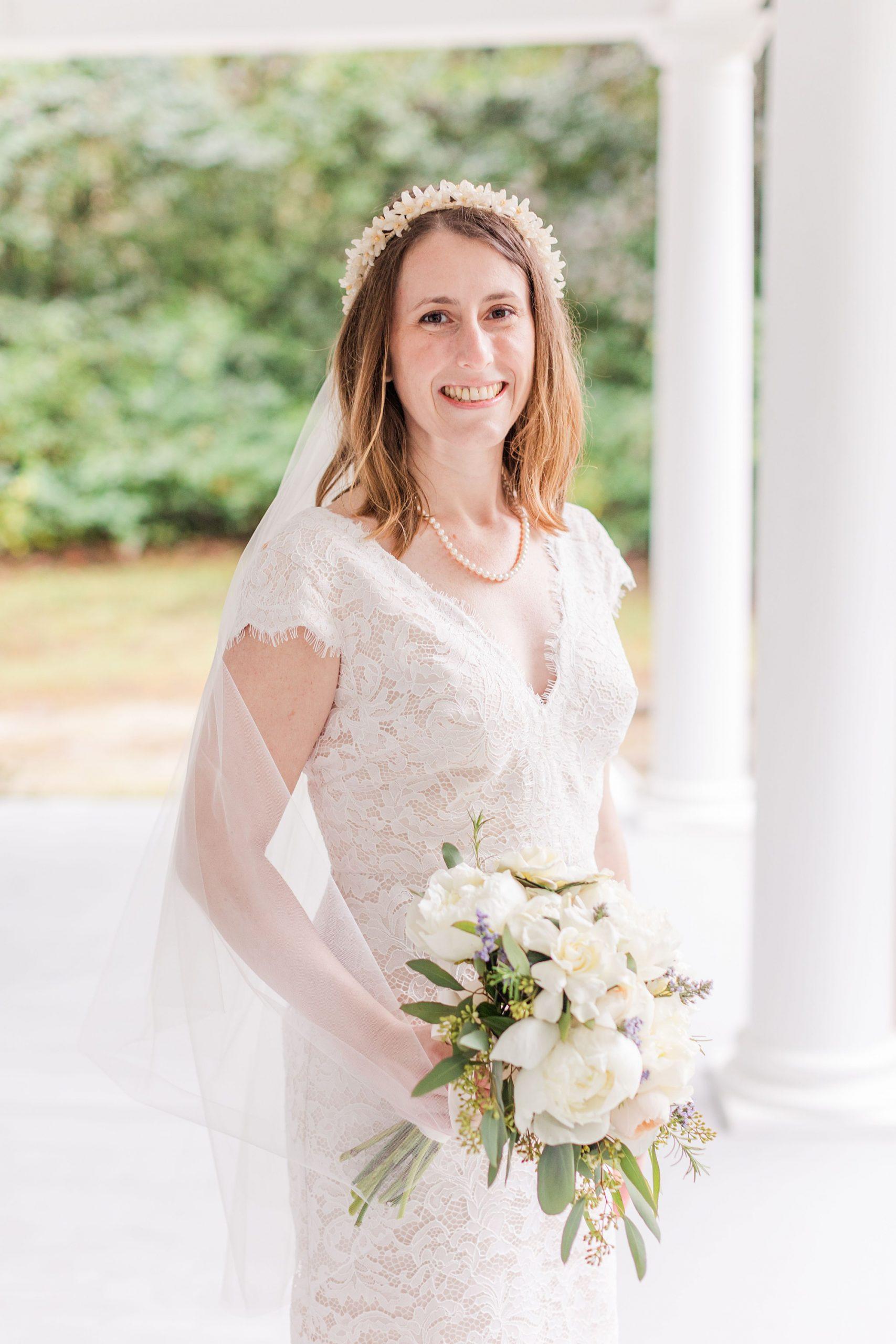 bridal portrait on front porch in Mobile AL