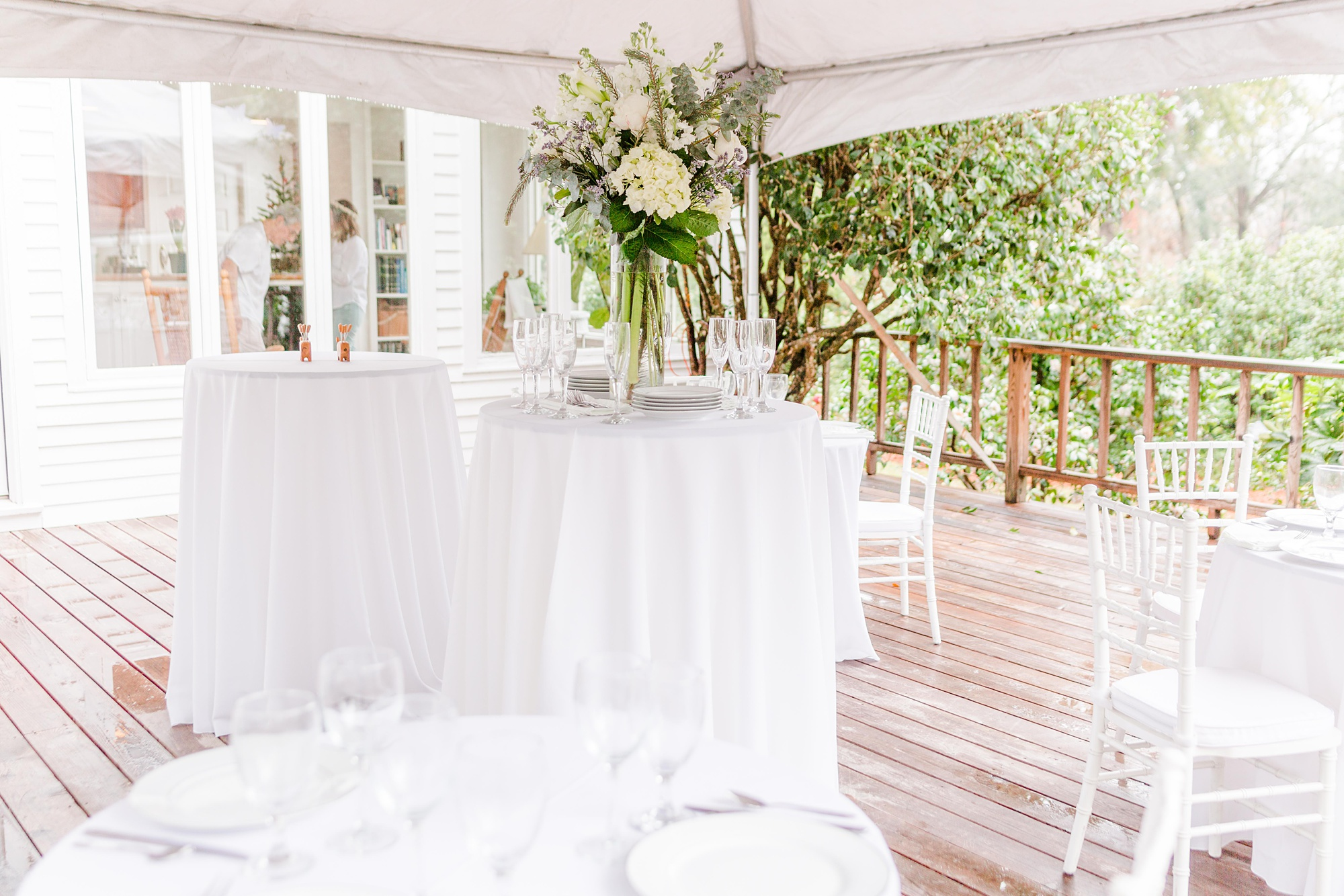 intimate Springhill wedding reception with simple white table cloths