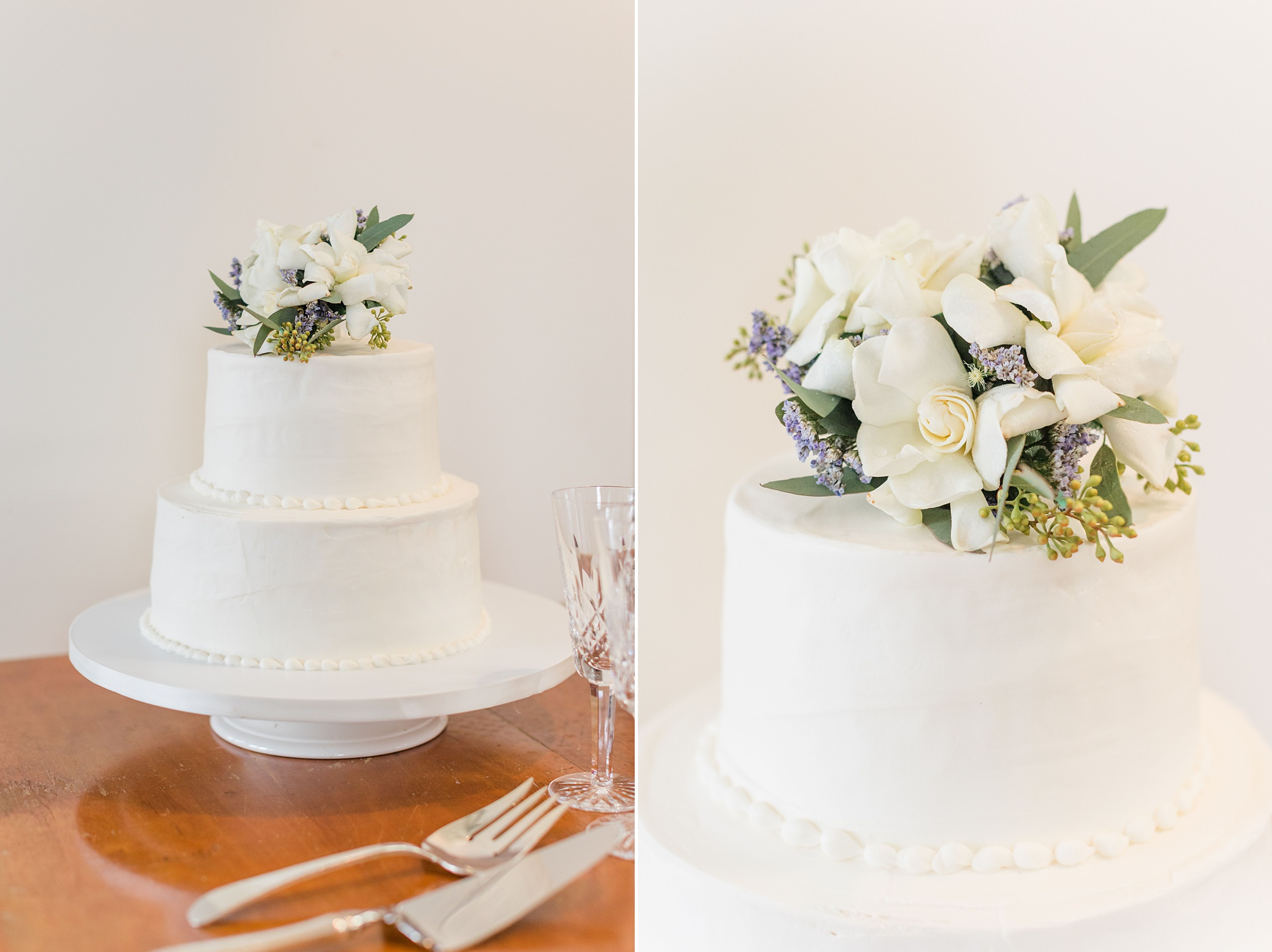 wedding cake with florals on top
