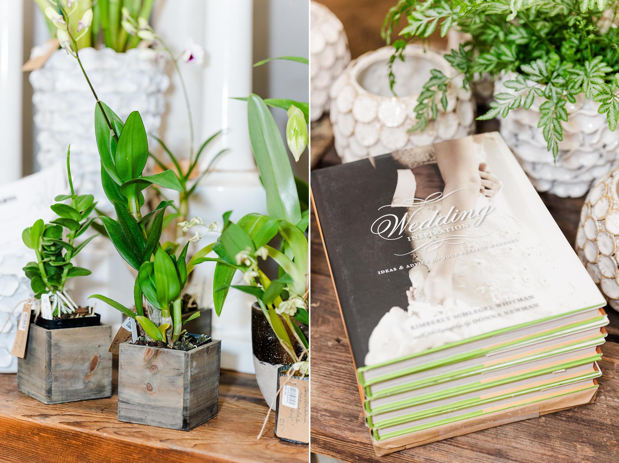 Mobile AL florist displays wedding books in storefront