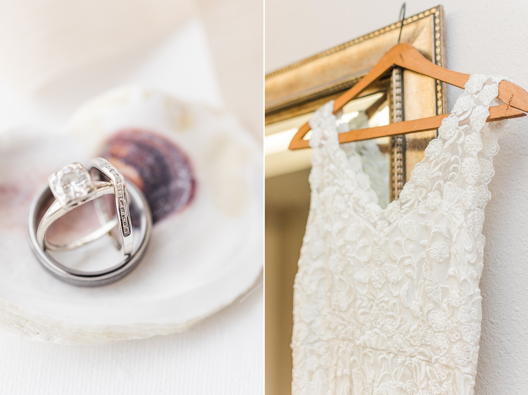 bride's wedding dress and rings on oyster shell