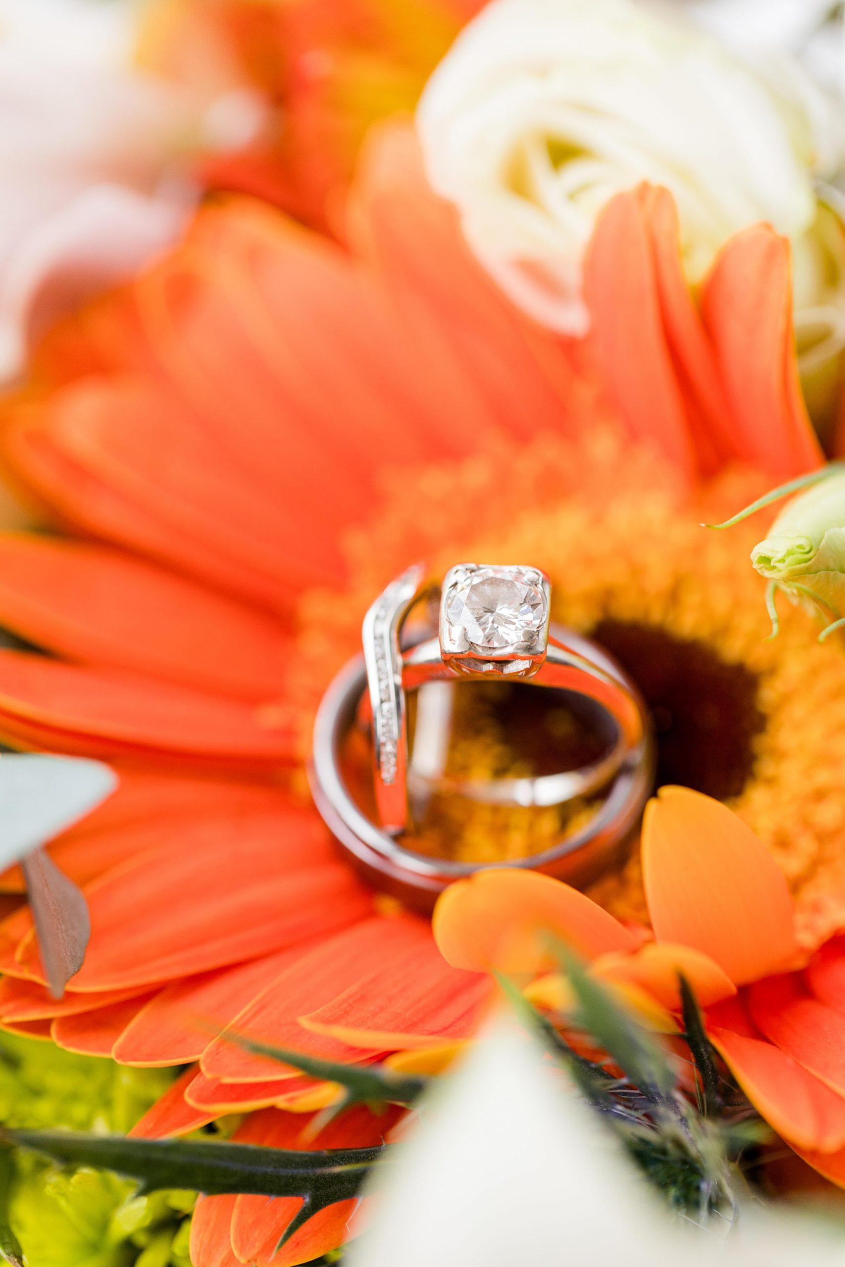wedding rings rest on orange daises