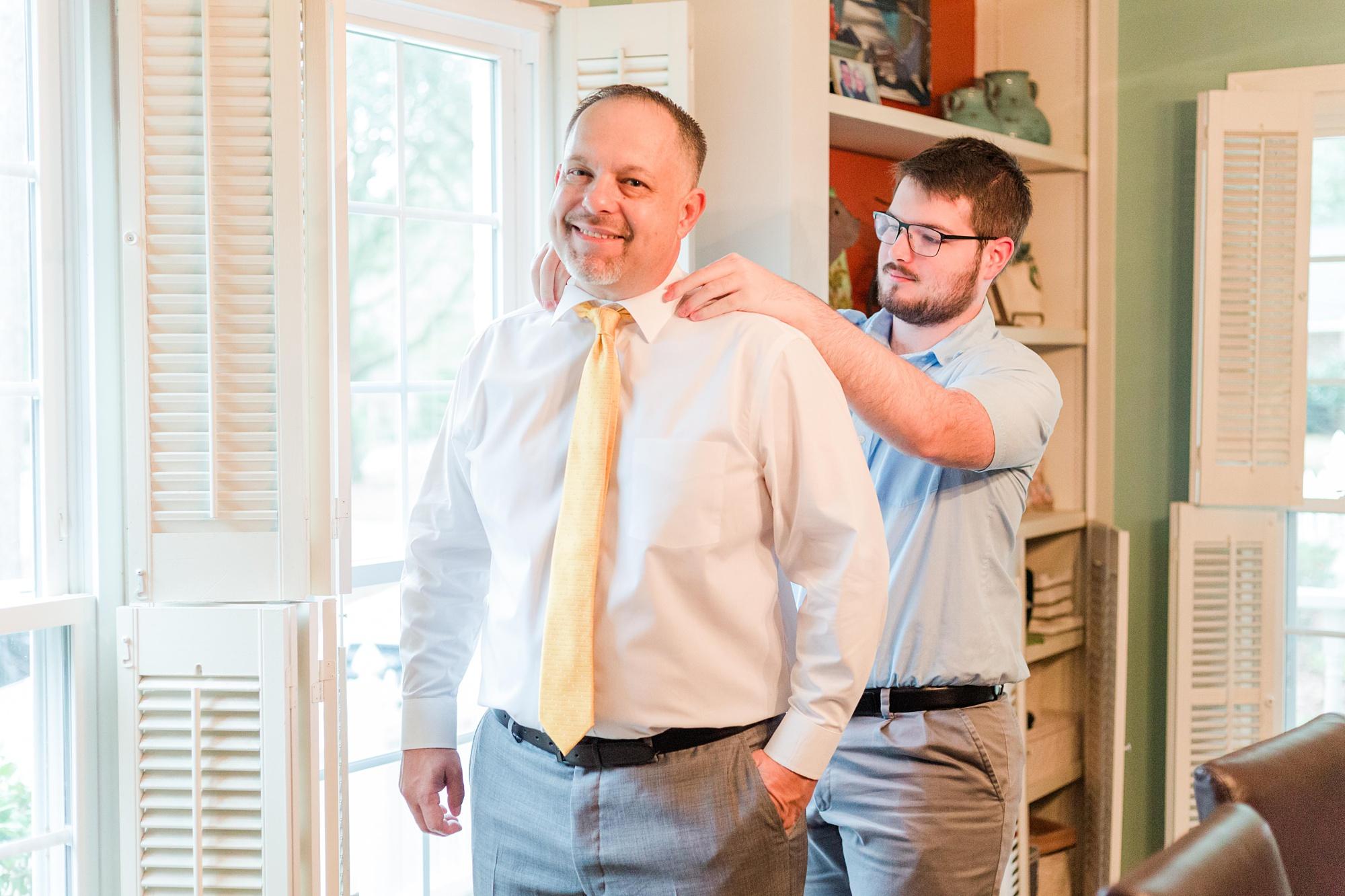son helps father prepare for Intimate Mobile AL Wedding