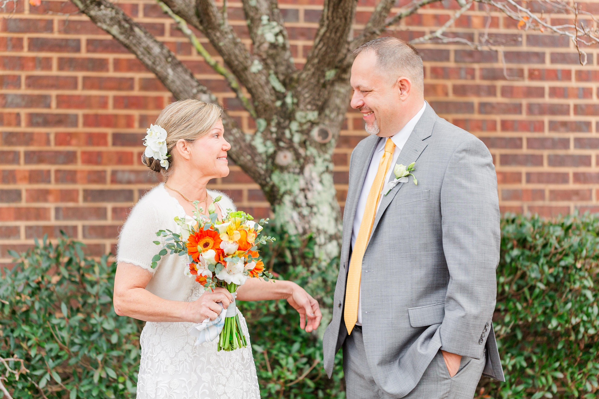 bride and groom see each other for the first time before Intimate Mobile AL Wedding