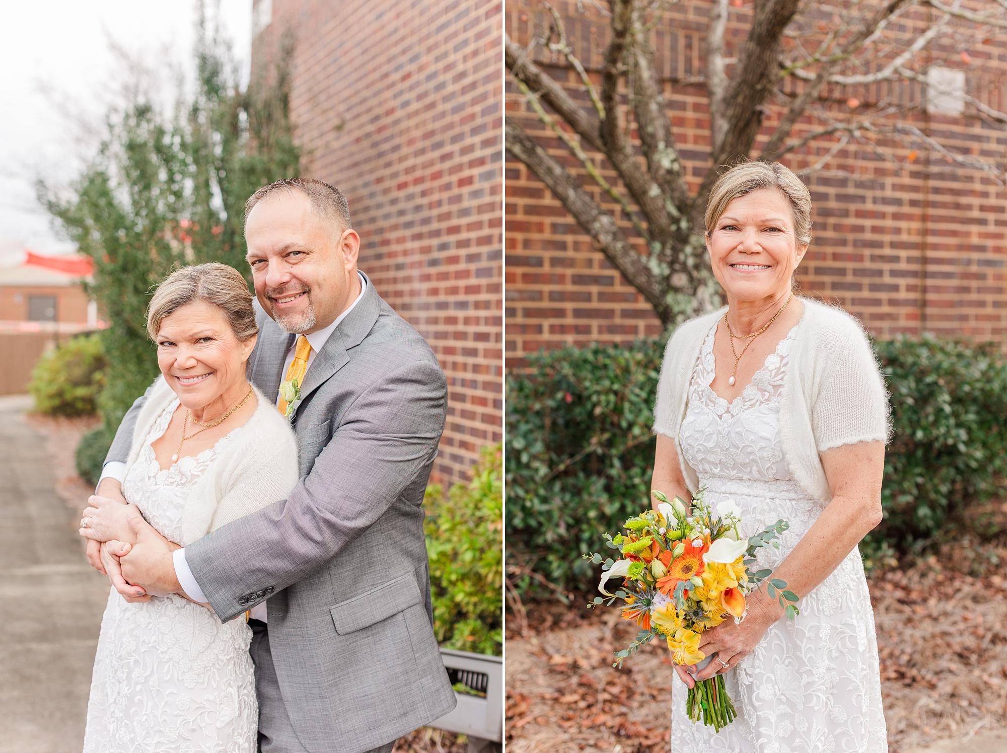 Alabama couple hugs during portraits on wedding day