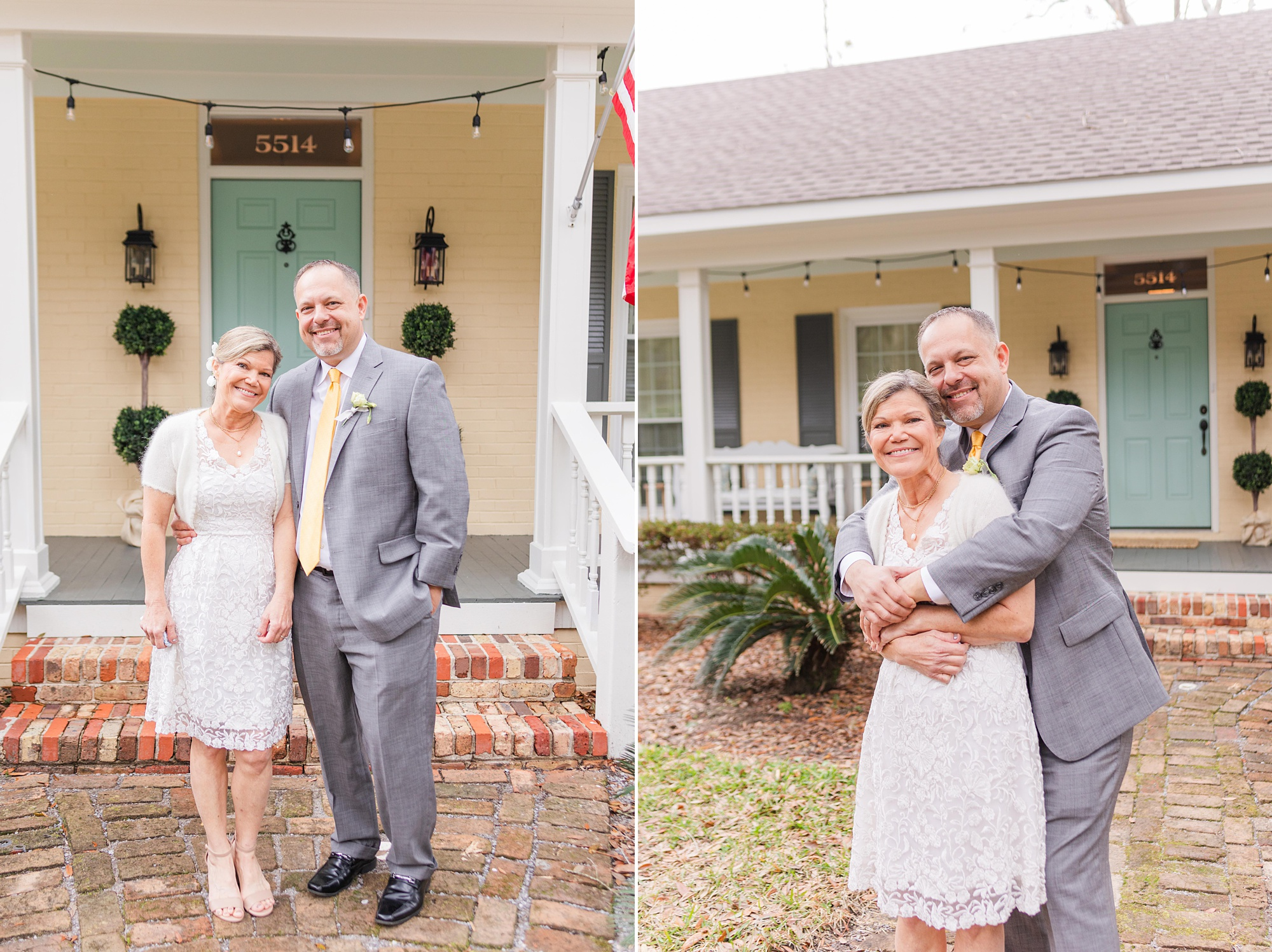 bride and groom hug outside Spring Hill home on winter wedding day