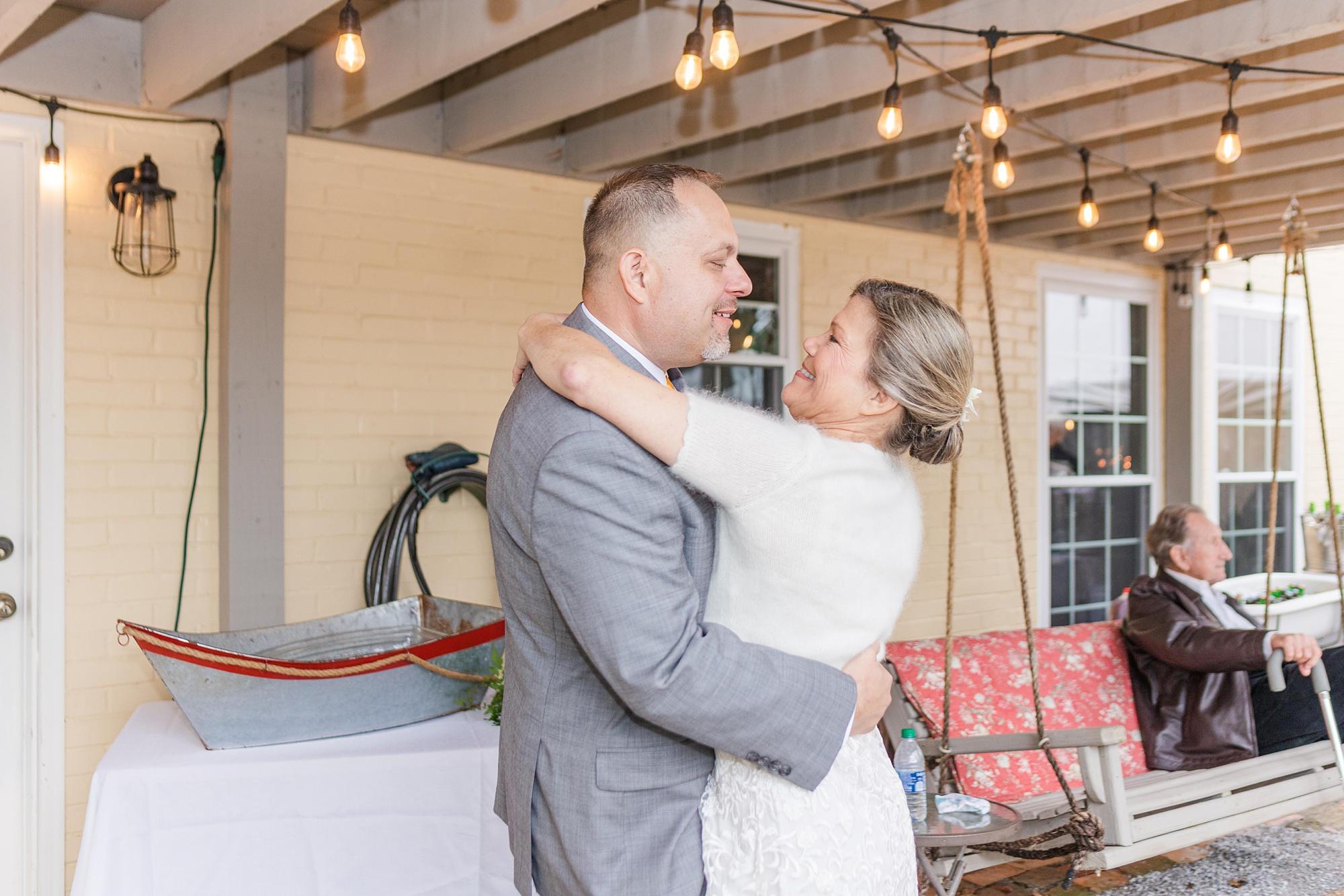 first dance at Spring Hill backyard wedding reception