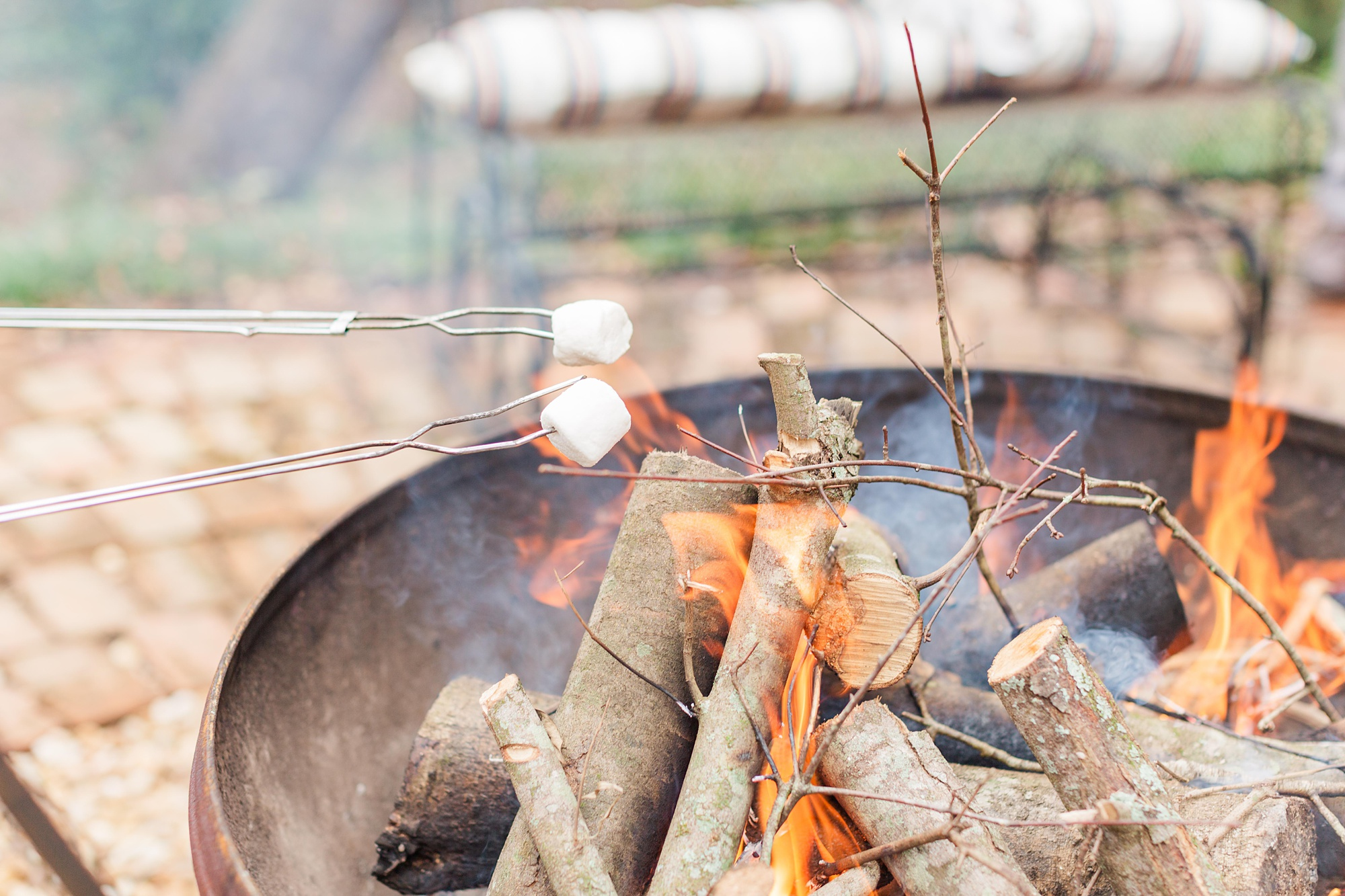 s'mores fire pit during Spring Hill backyard wedding reception