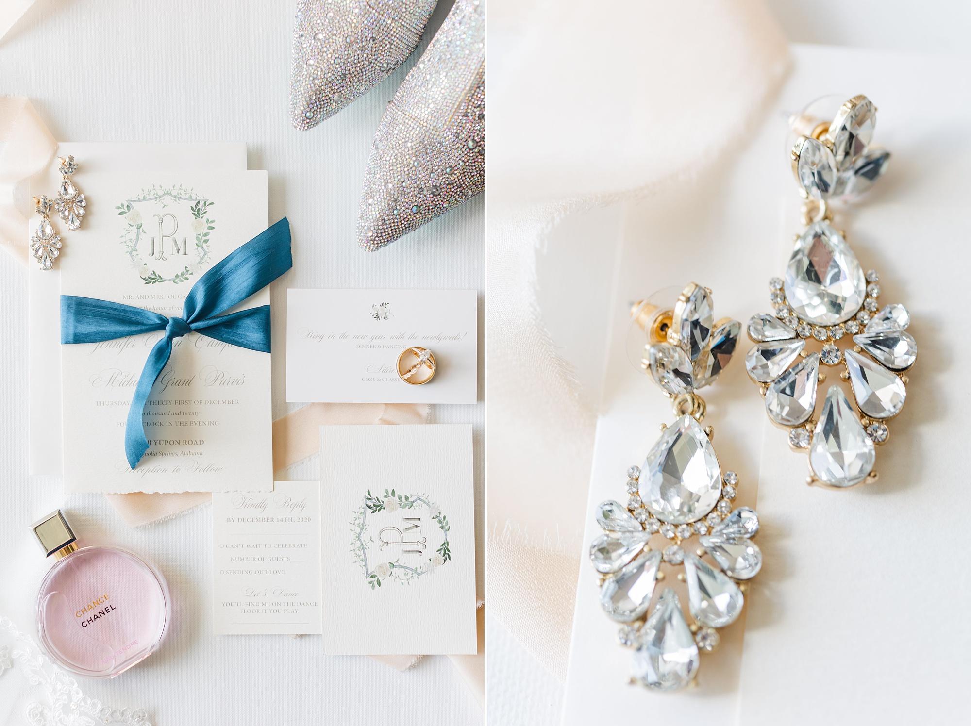 elegant invitation suite for New Year's Eve wedding
