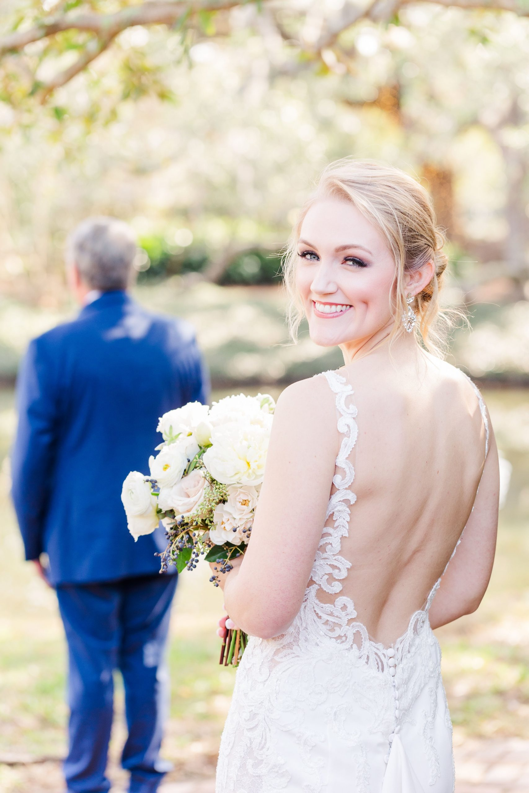 bride approaches dad for first look on wedding day